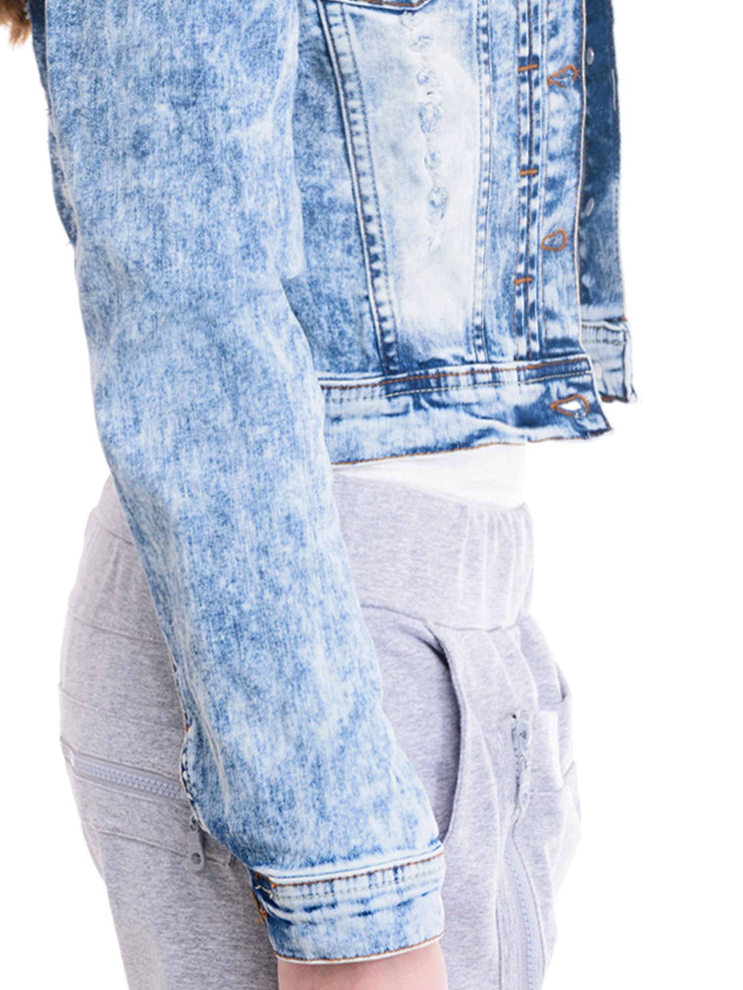 Niebieska kurtka jeansowa damska z marmurkowego denimu                                  zdj.                                  6