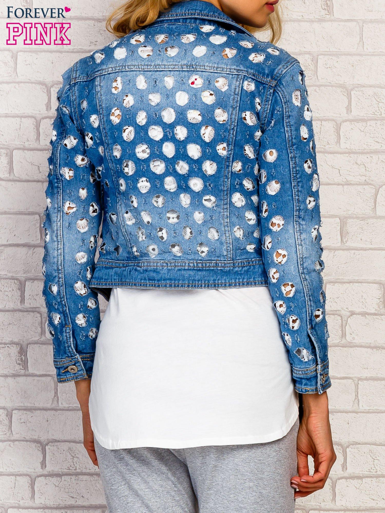 Niebieska kurtka jeansowa z koronką                                  zdj.                                  5