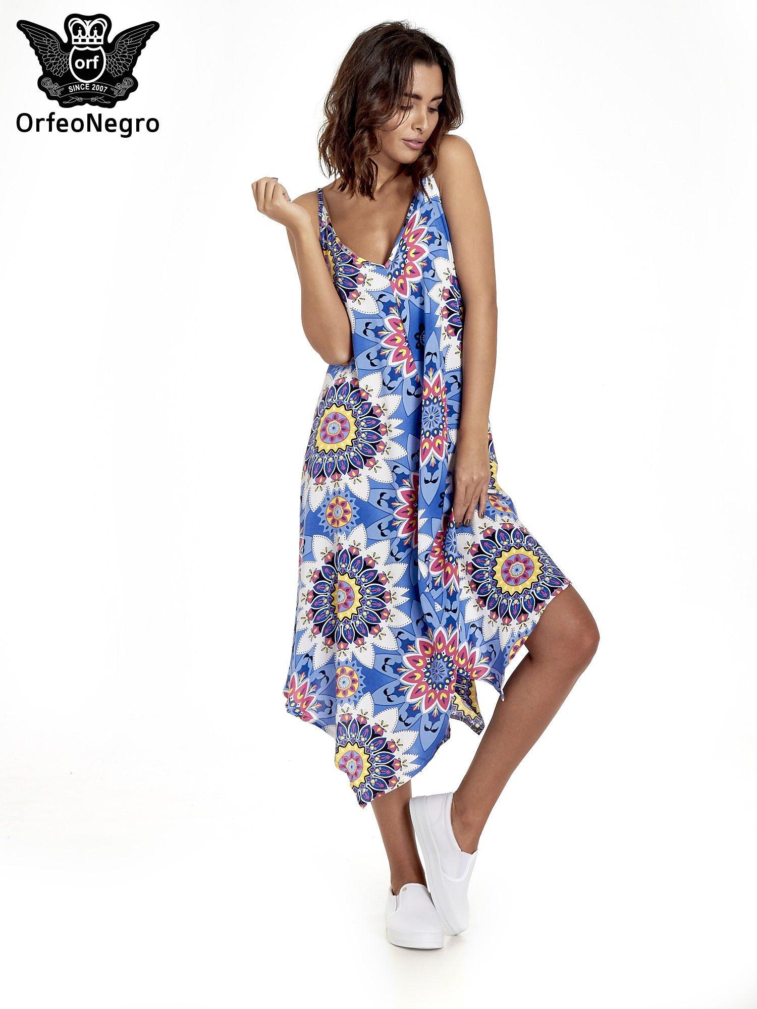 Niebieska letnia sukienka w kwiaty                                  zdj.                                  1