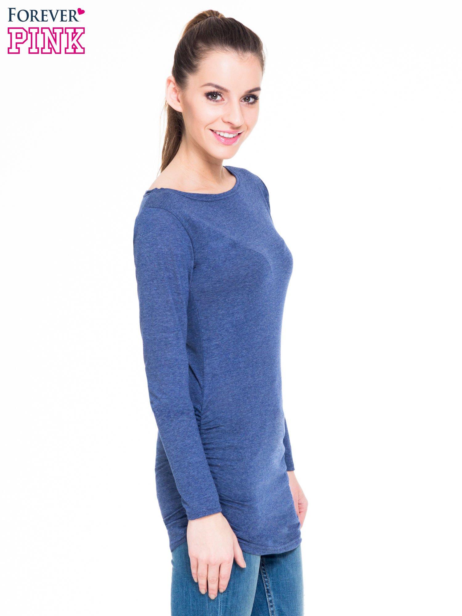 Niebieska melanżowa bluzka tunika z marszczonym dołem                                  zdj.                                  3