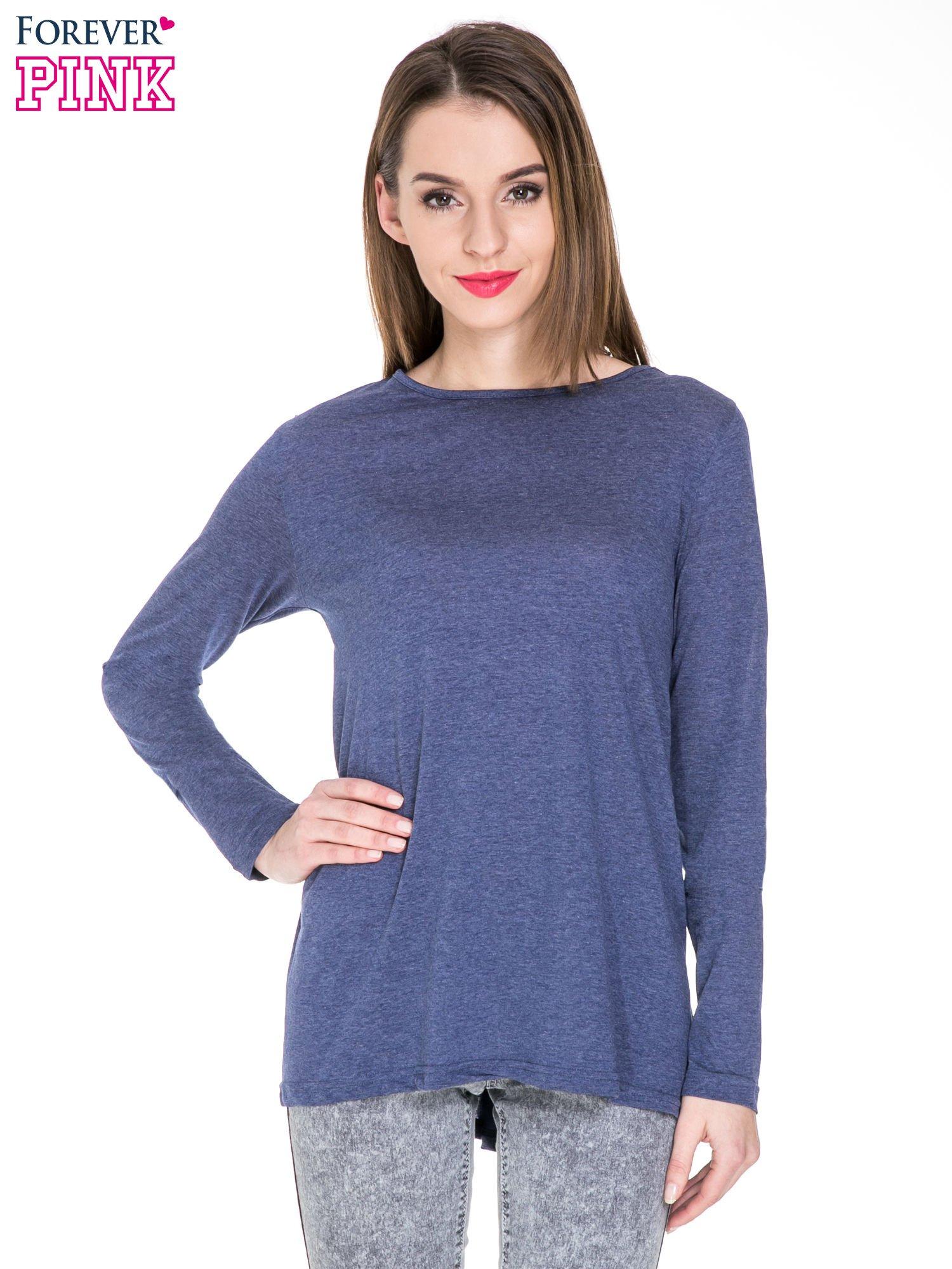 Niebieska melanżowa bluzka z dłuższym tyłem                                  zdj.                                  1