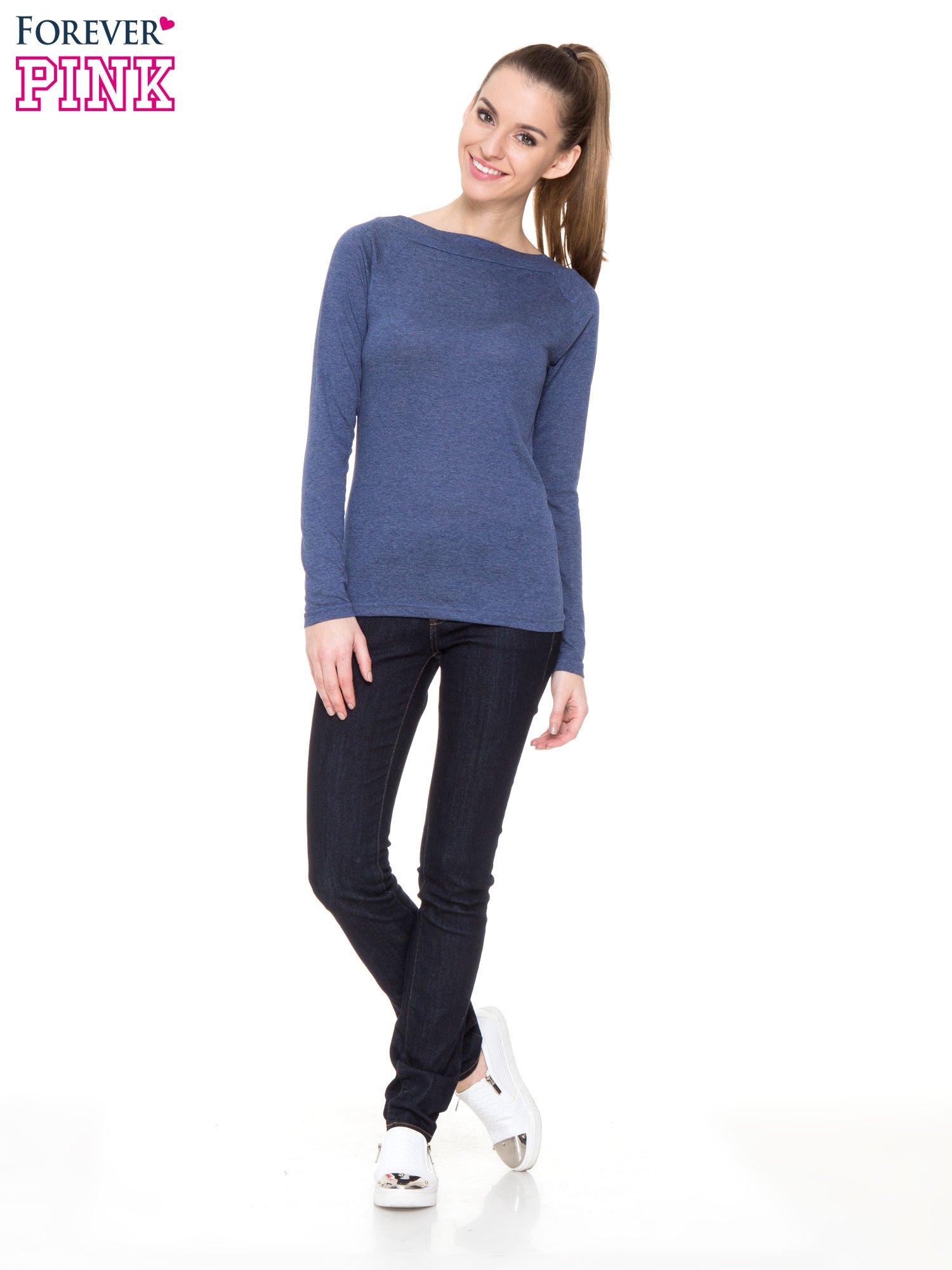 Niebieska melanżowa gładka bluzka z reglanowymi rękawami                                  zdj.                                  2