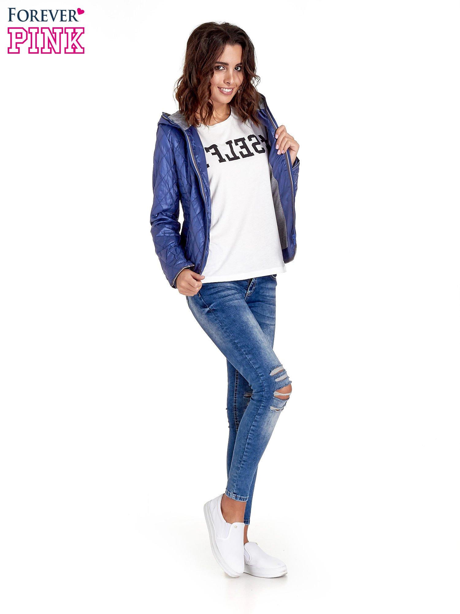 Niebieska pikowana kurtka typu husky                                  zdj.                                  2
