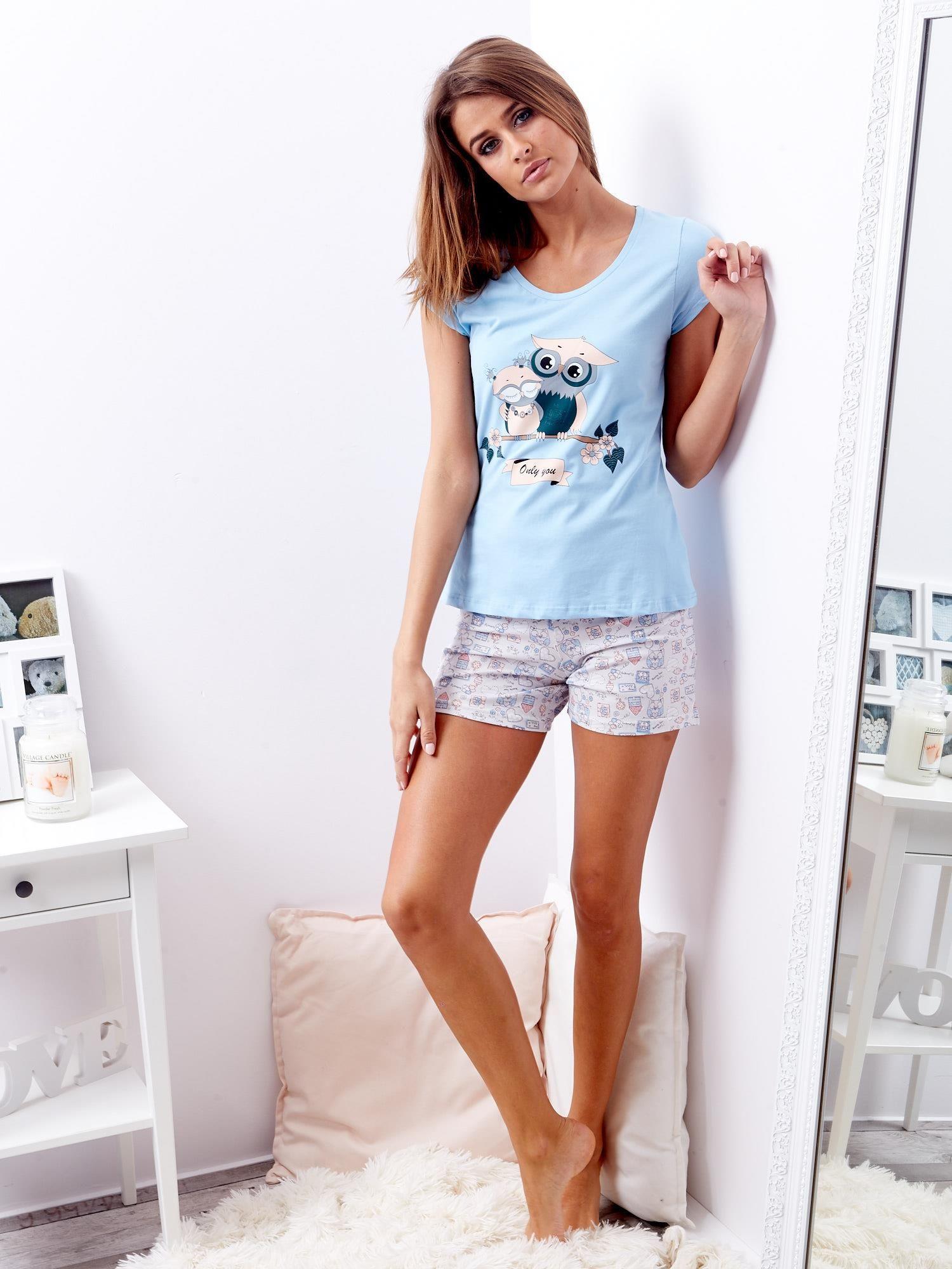 400ed4864ae486 Niebieska piżama damska w sowy - Bielizna piżama - sklep eButik.pl