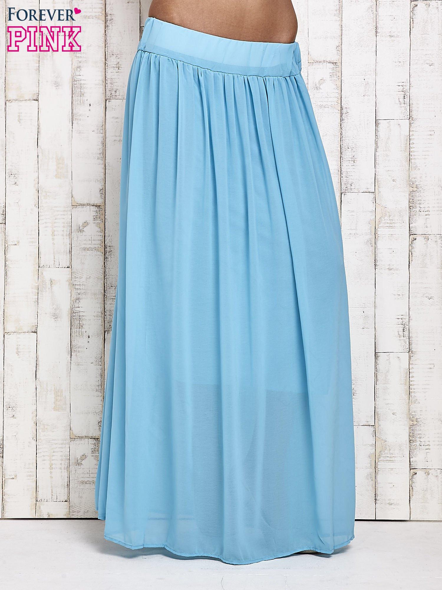Niebieska spódnica maxi na gumkę w pasie                                  zdj.                                  1