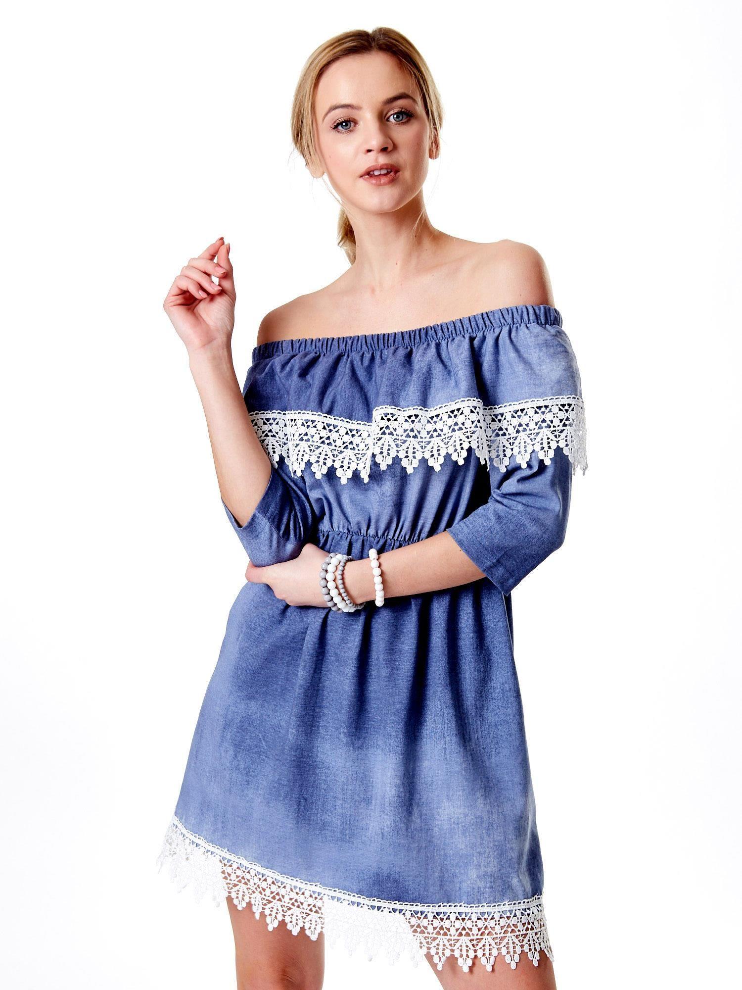 a0d5ecc628 Niebieska sukienka hiszpanka z koronką - Sukienka one size - sklep ...