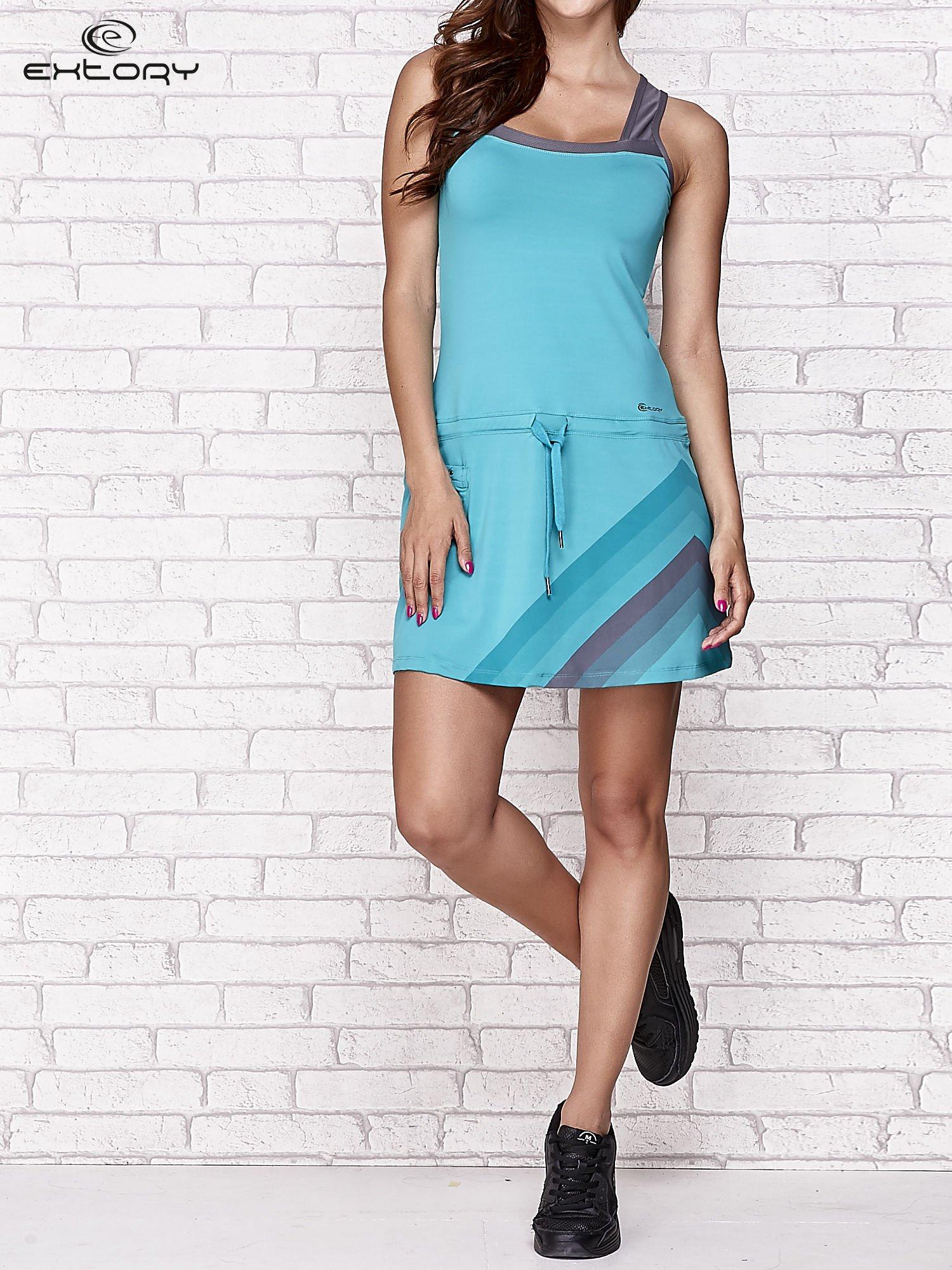 Niebieska sukienka sportowa z szarymi wstawkami                                  zdj.                                  7