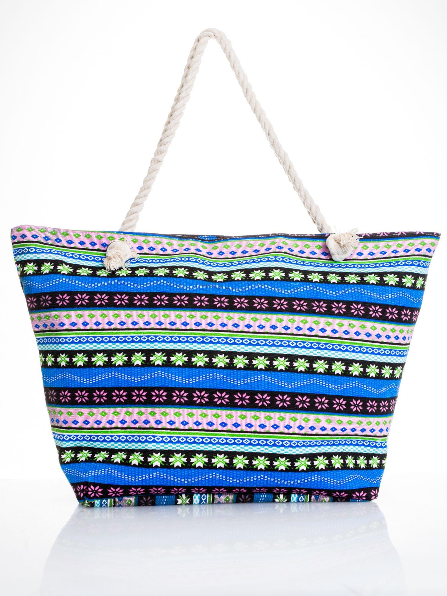 Niebieska torba plażowa w azteckie wzory                                  zdj.                                  4