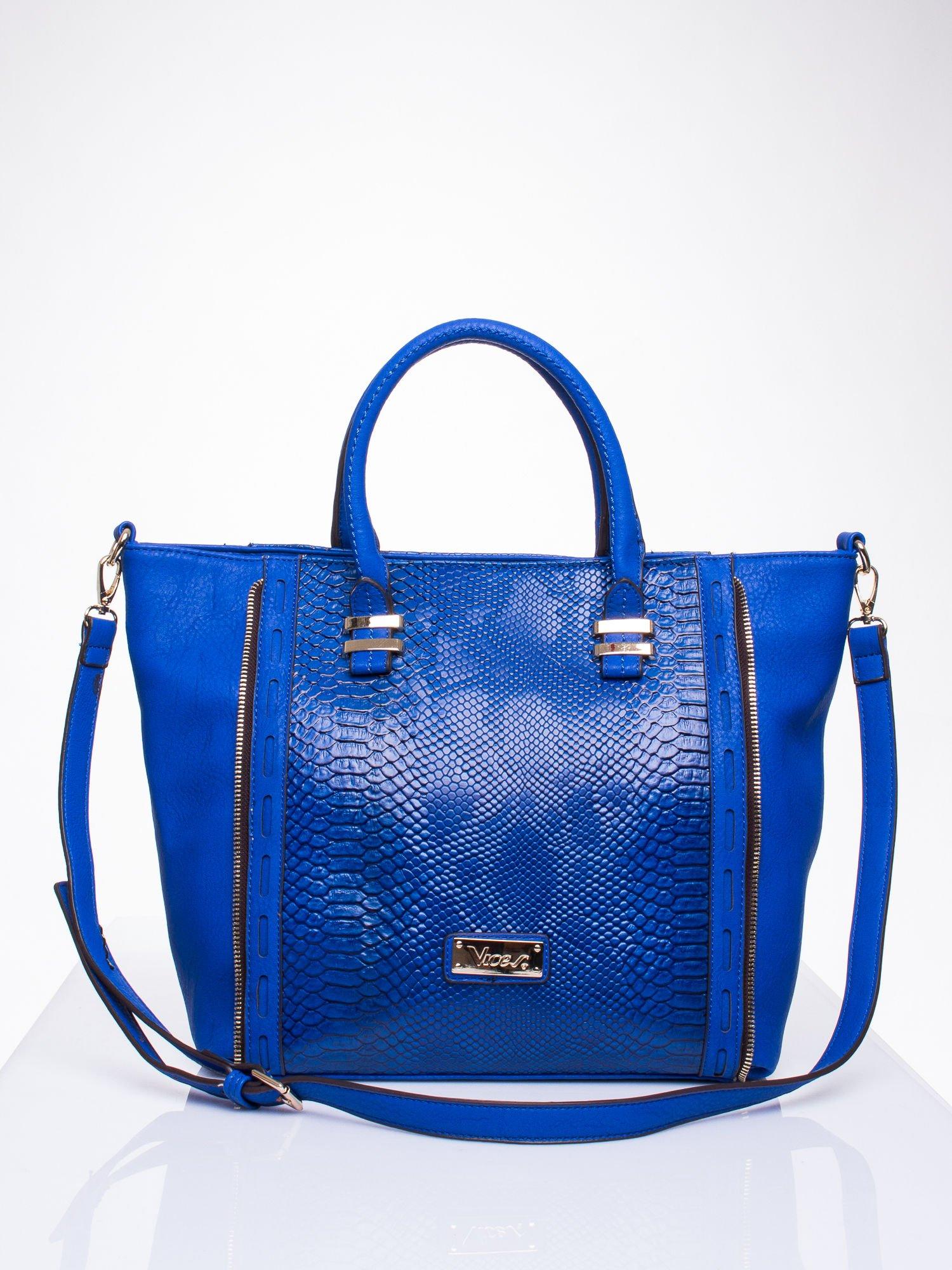 Niebieska torba shopper bag z wzorem skóry węża                                  zdj.                                  1
