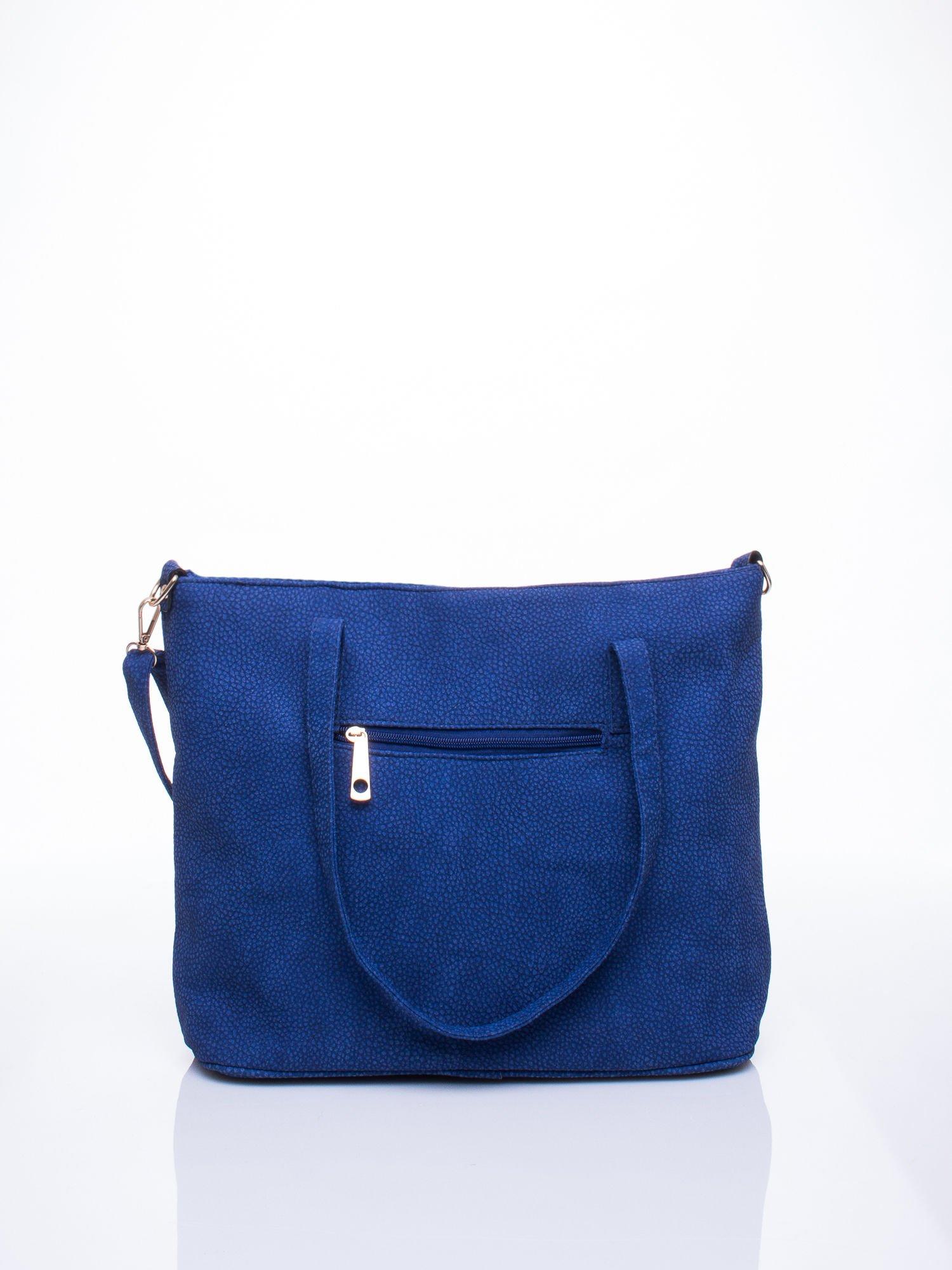Niebieska torba shopperka z odczepianym paskiem                                   zdj.                                  4