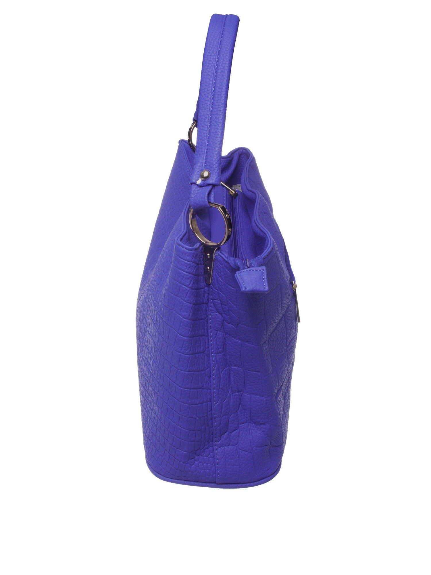 Niebieska torebka na ramię tłoczona na wzór skóry krokodyla                                  zdj.                                  4