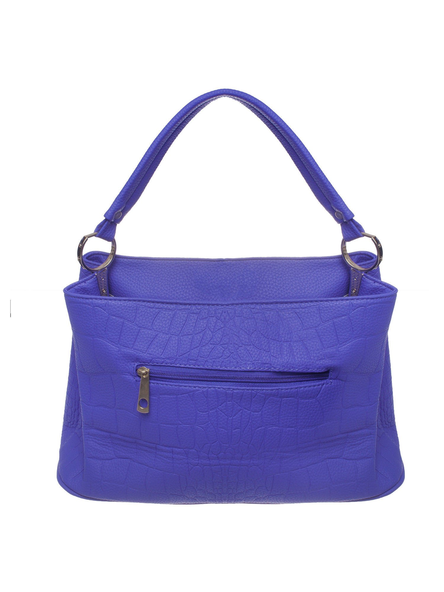 Niebieska torebka na ramię tłoczona na wzór skóry krokodyla                                  zdj.                                  2