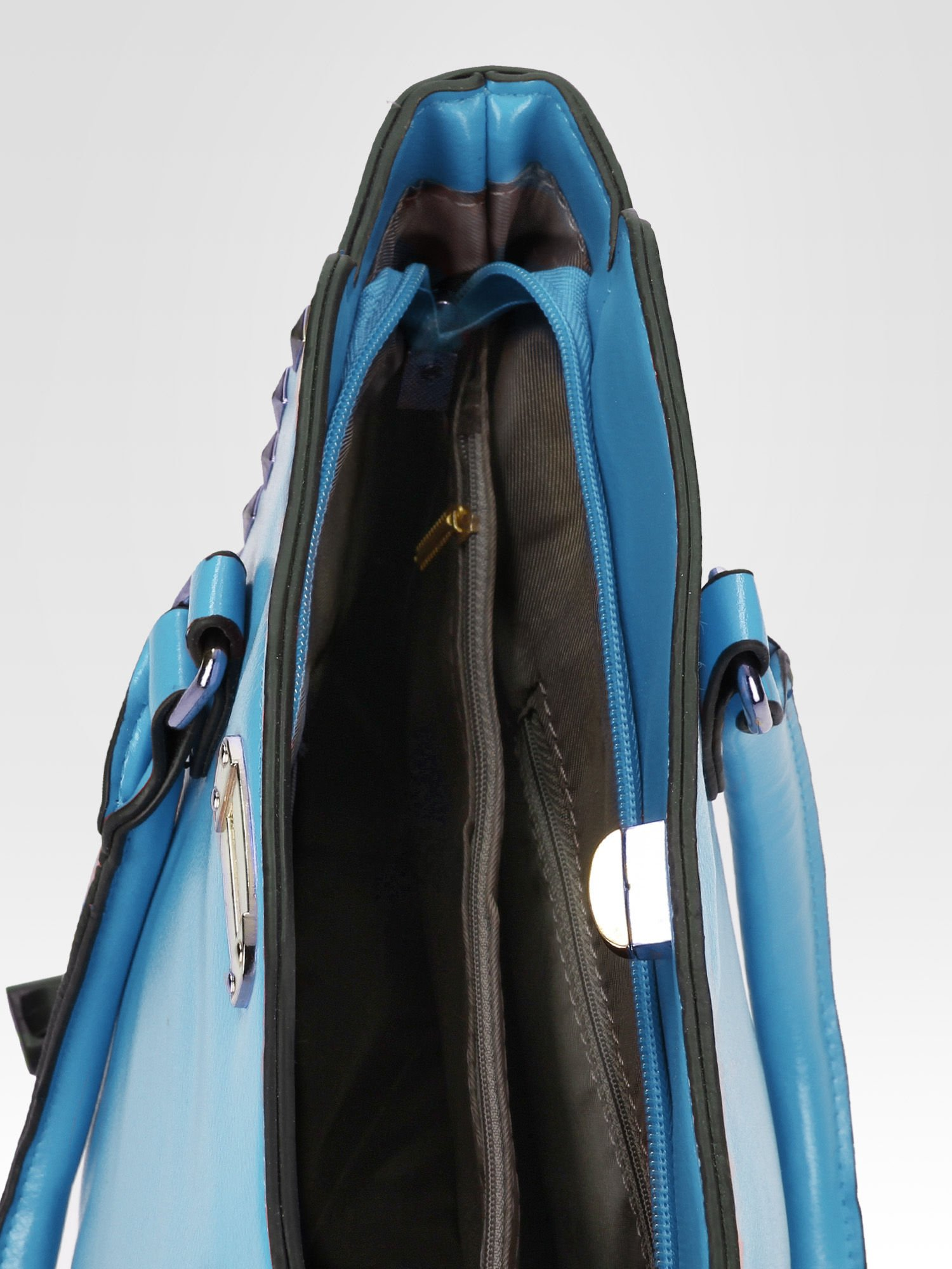 Niebieska torebka na ramię z dżetami                                  zdj.                                  8