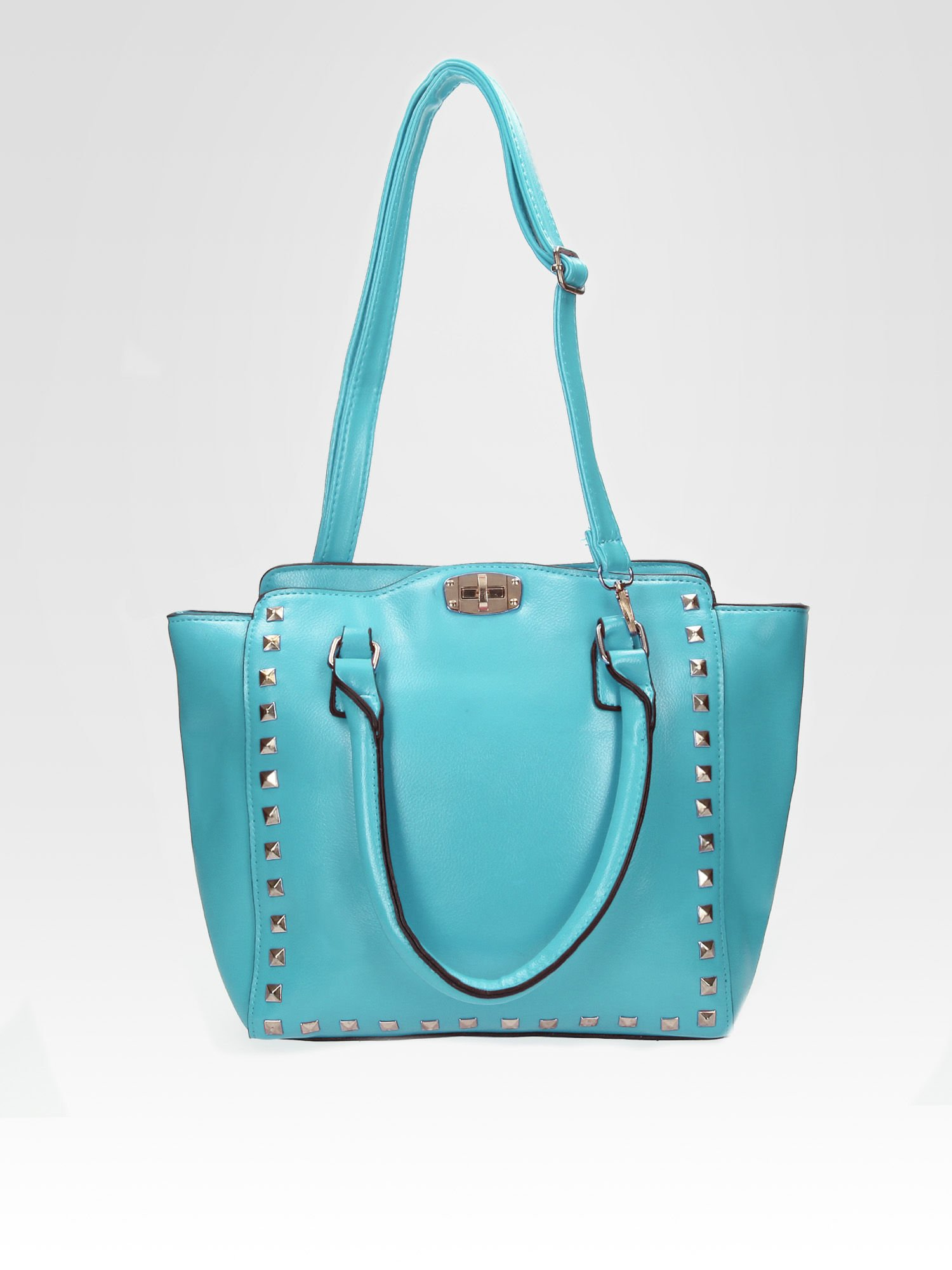 Niebieska torebka na ramię z dżetami                                  zdj.                                  5