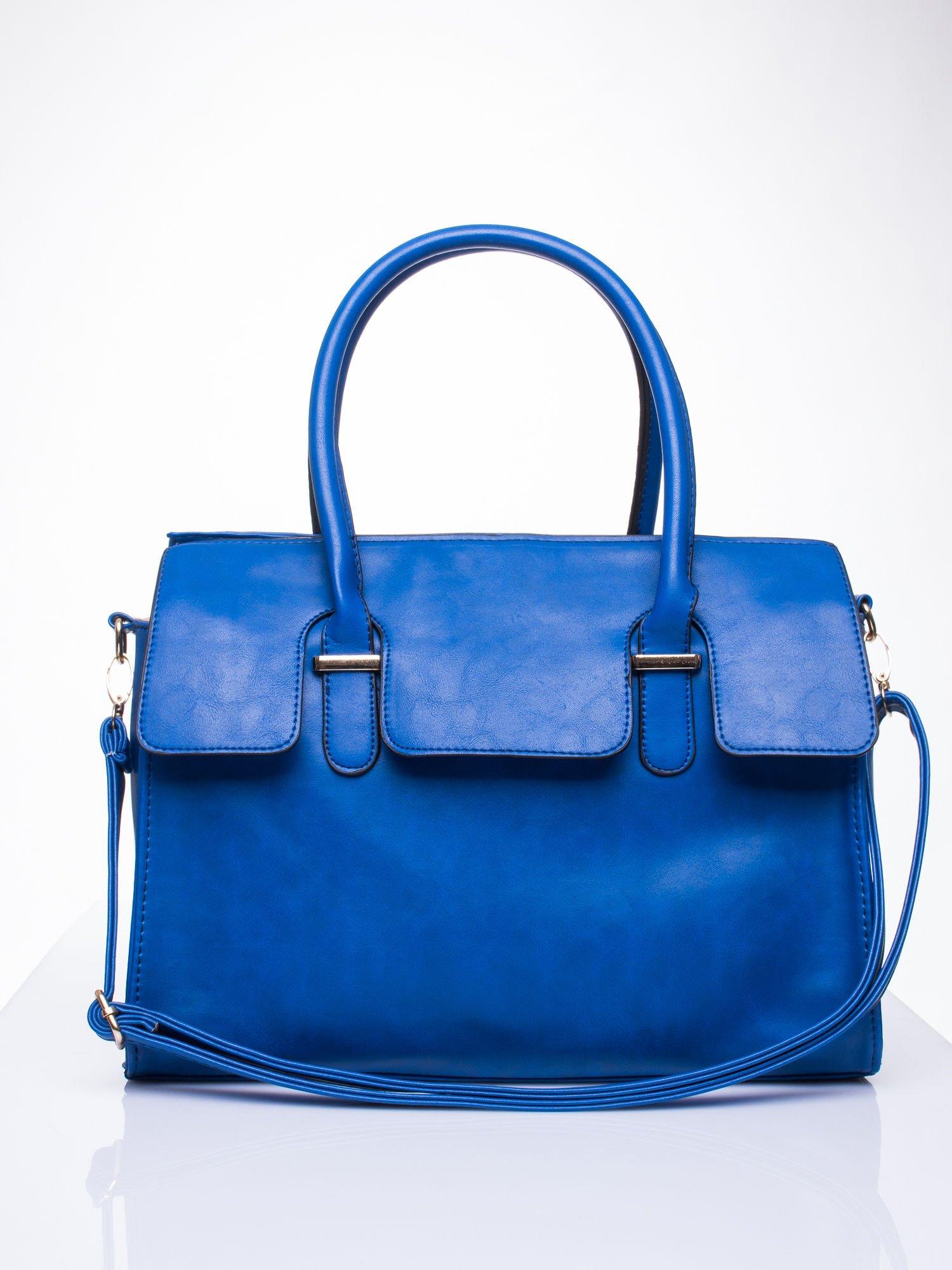 Niebieska torebka teczka z klapką                                  zdj.                                  2