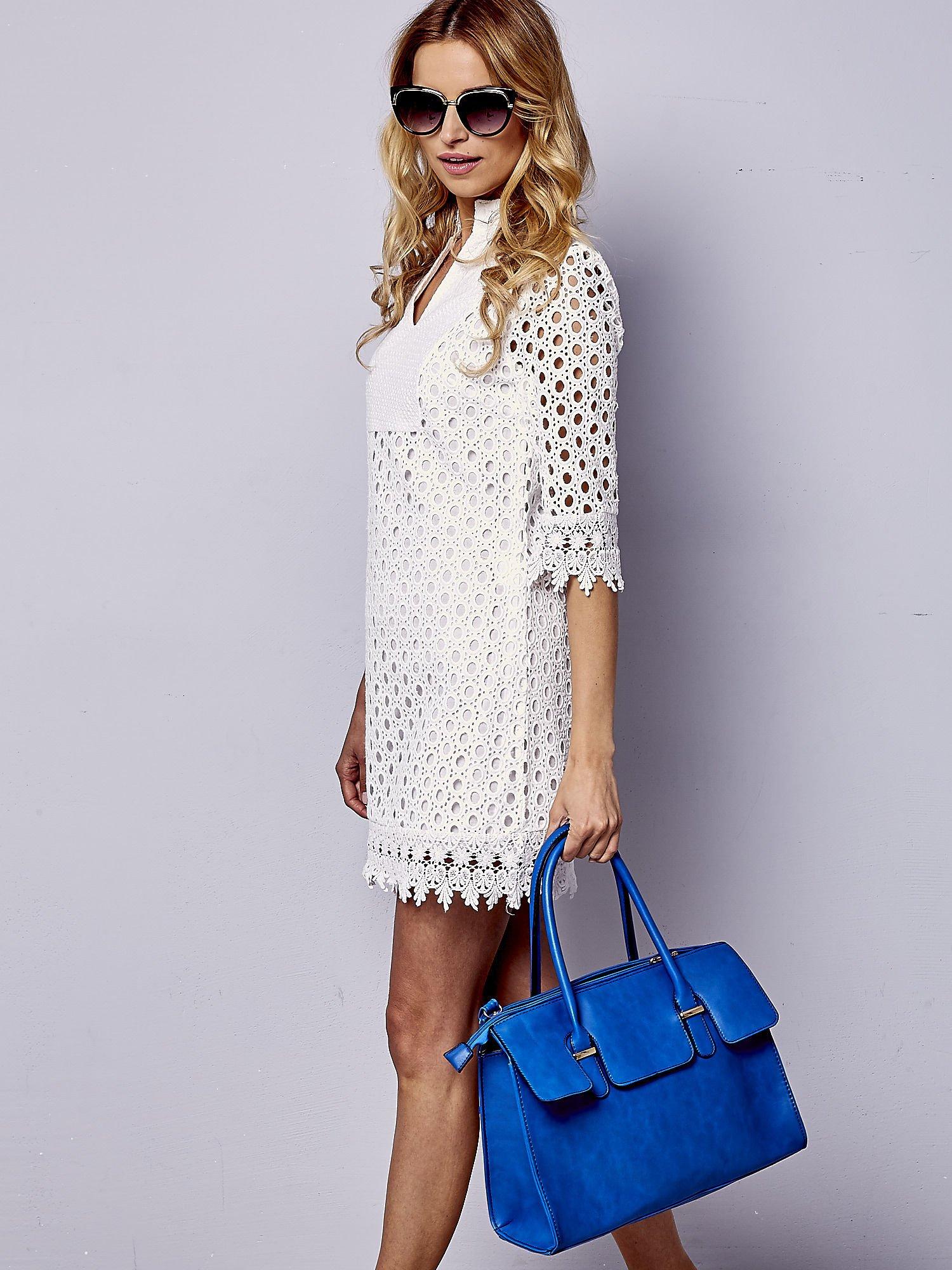 Niebieska torebka teczka z klapką                                  zdj.                                  6