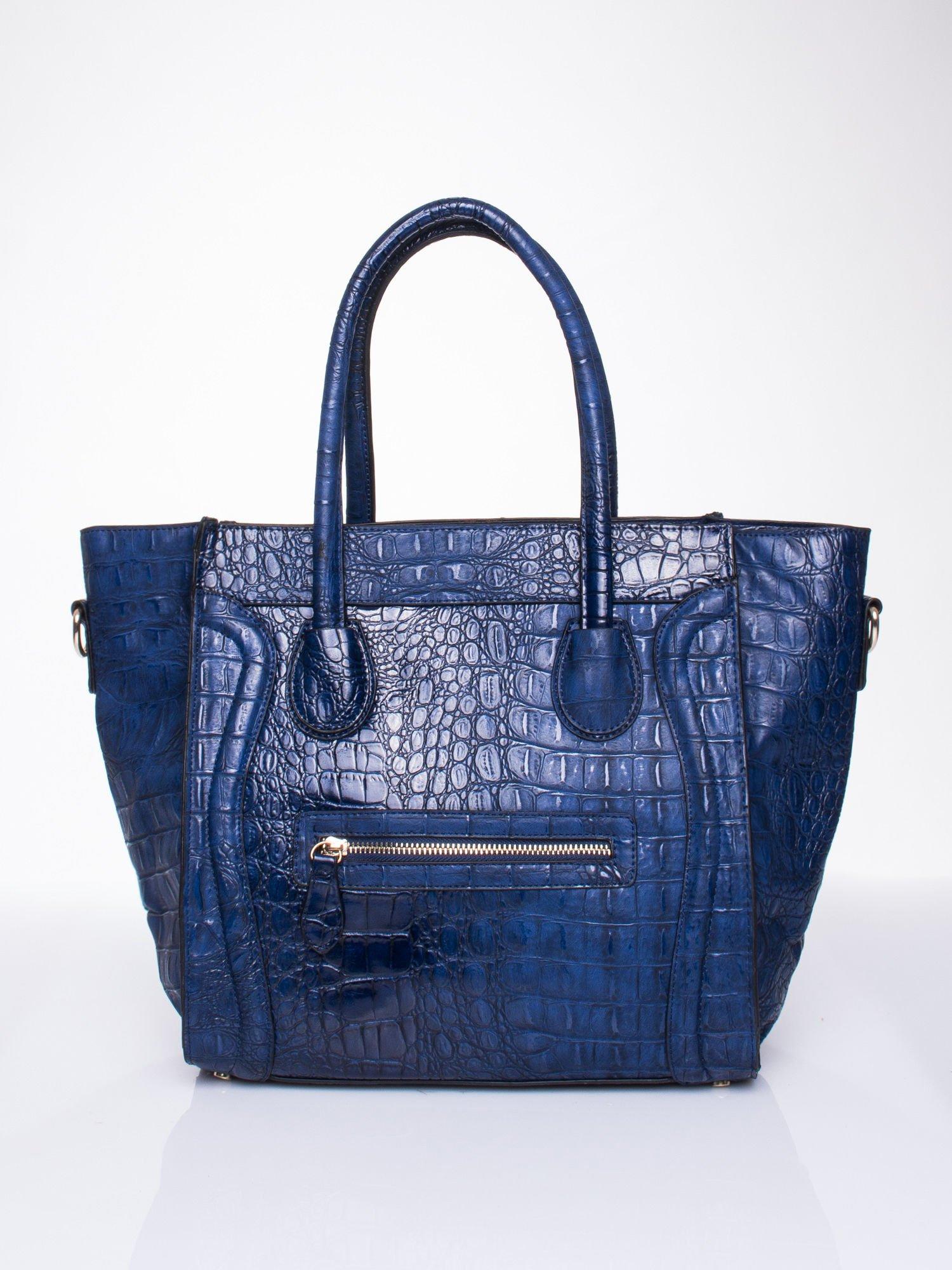 Niebieska trapezowa torba miejska z efektem skóry krokodyla                                  zdj.                                  2
