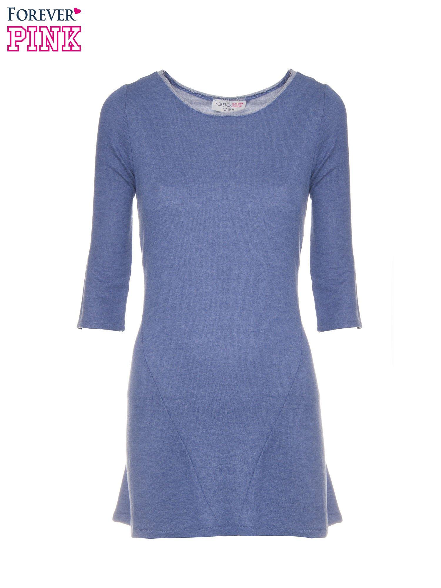 Niebieska tunika o kroju dzwonka wiązana z tyłu                                  zdj.                                  5