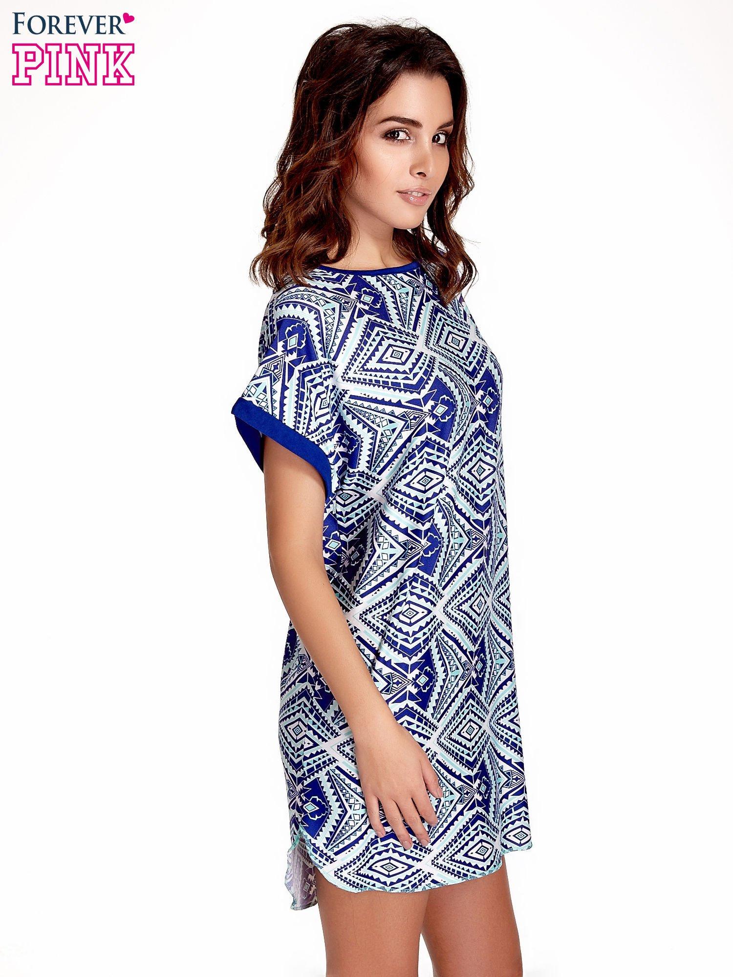 Niebieska tunika w azteckie wzory                                  zdj.                                  3