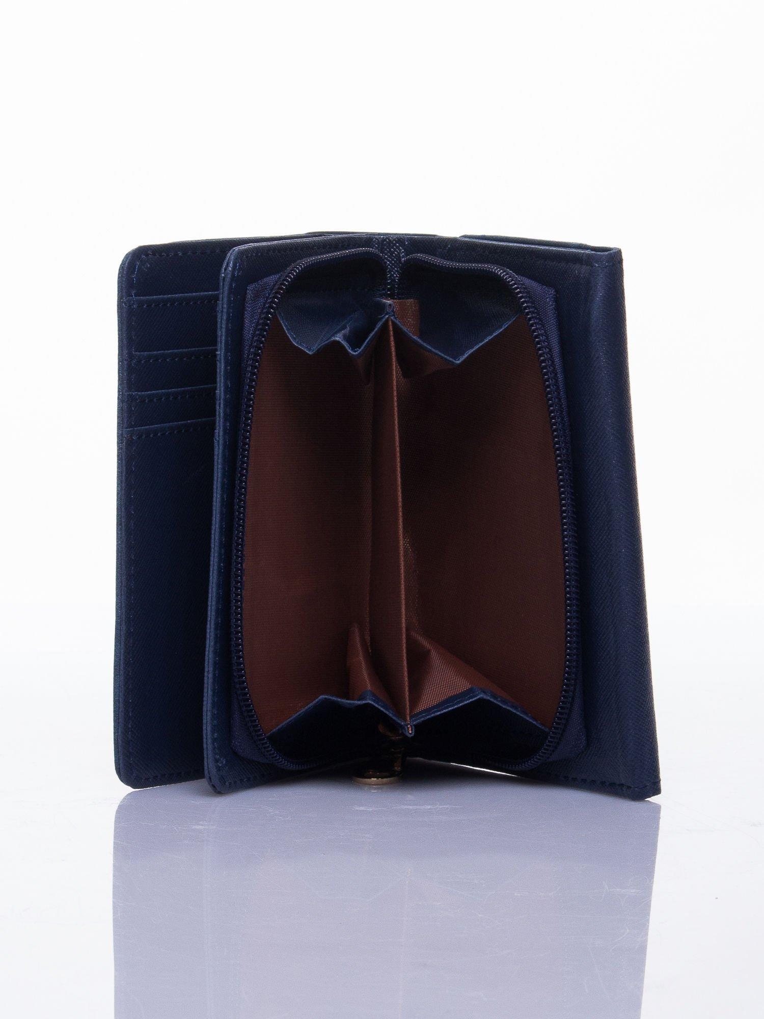 Niebieski ażurowany portfel ze złotym zapięciem                                  zdj.                                  4