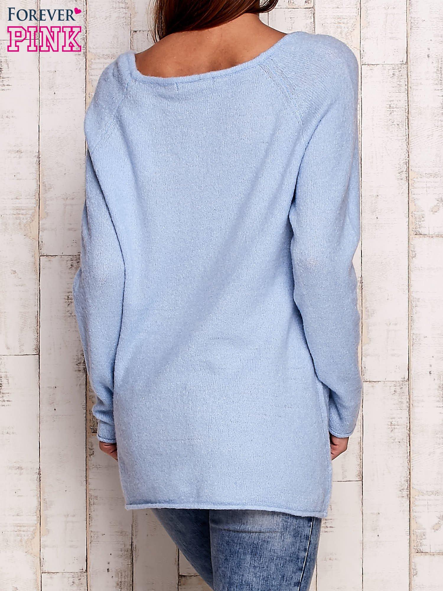 Niebieski dzianinowy sweter                                   zdj.                                  4