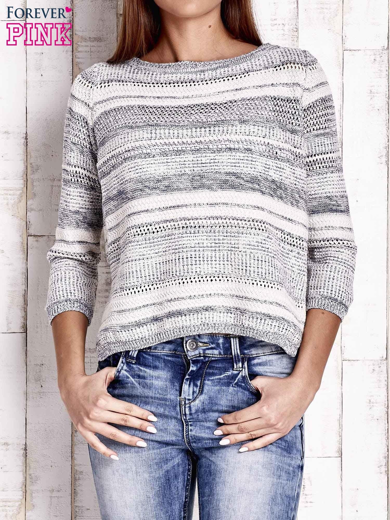 Niebieski dziergany sweter z rękawem 3/4                                  zdj.                                  1
