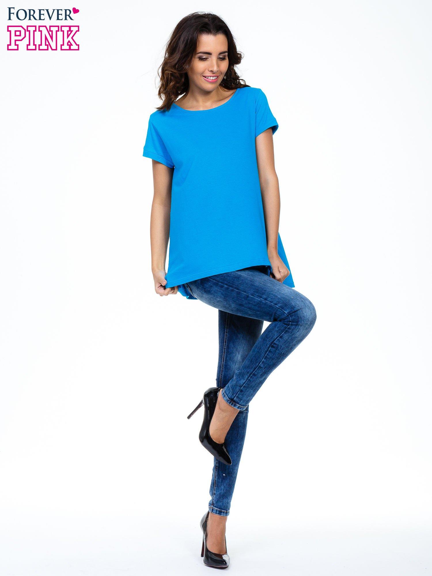 Niebieski luźny t-shirt                                   zdj.                                  7