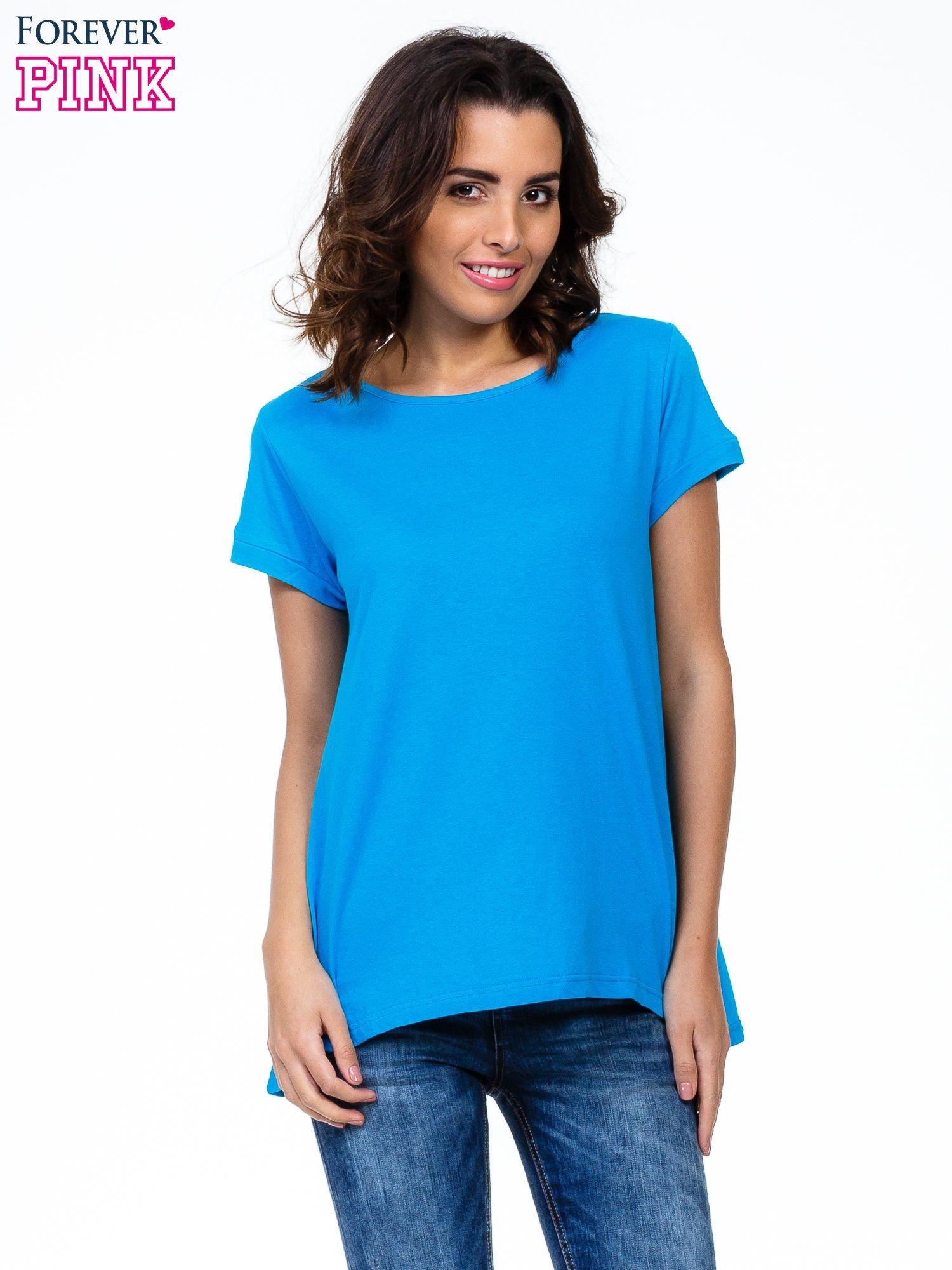 Niebieski luźny t-shirt                                   zdj.                                  1