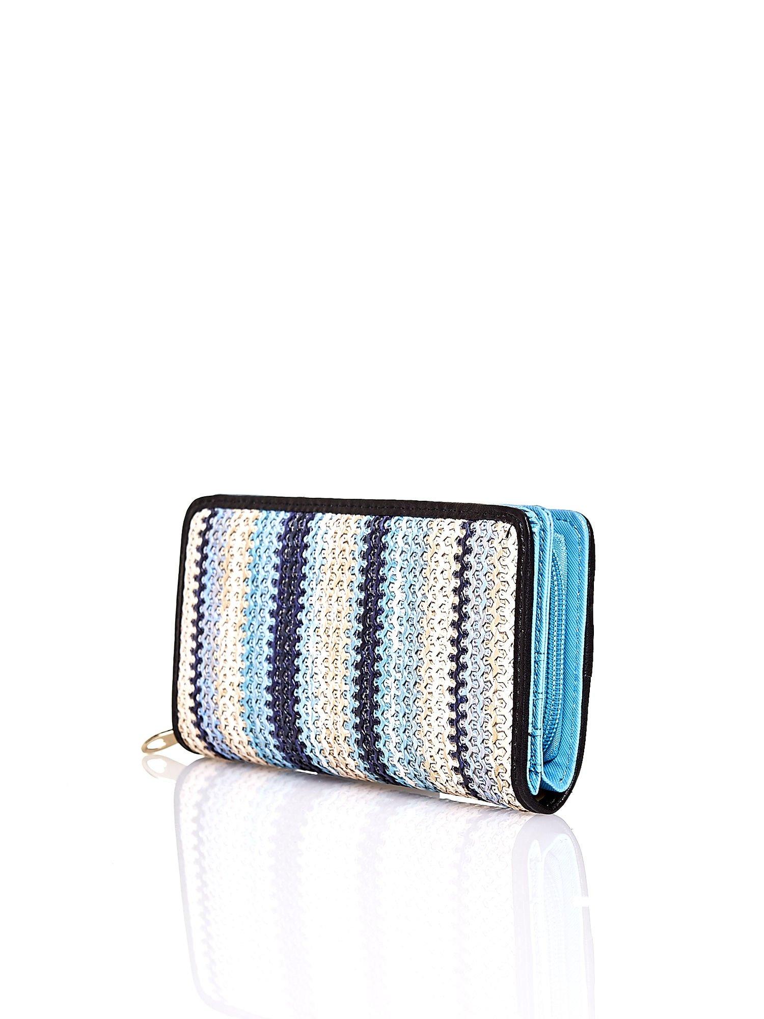 Niebieski pleciony portfel w pionowe granatowe paski                                  zdj.                                  2