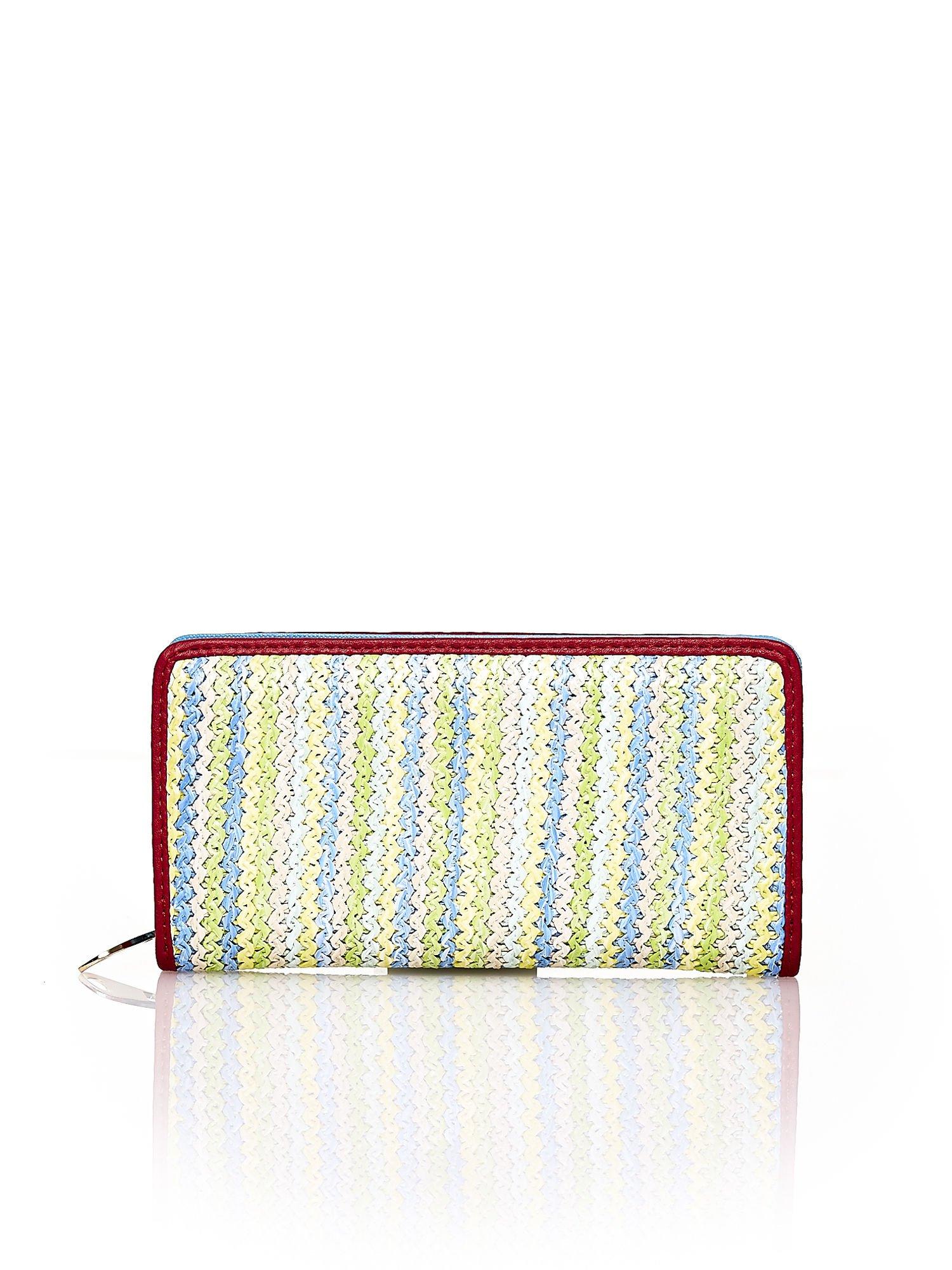 Niebieski pleciony portfel w pionowe pastelowe paski                                  zdj.                                  1