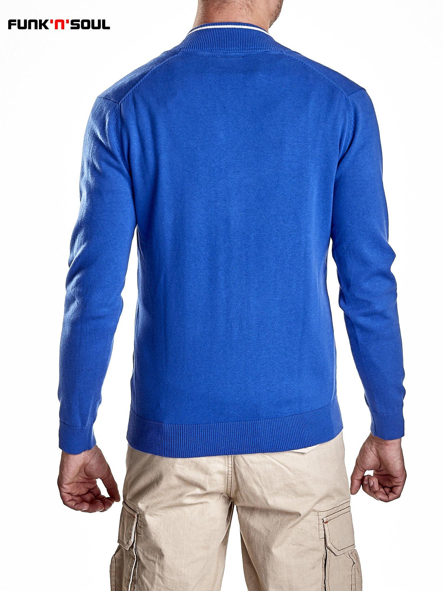 Niebieski sweter męski na guziki Funk n Soul                                   zdj.                                  6