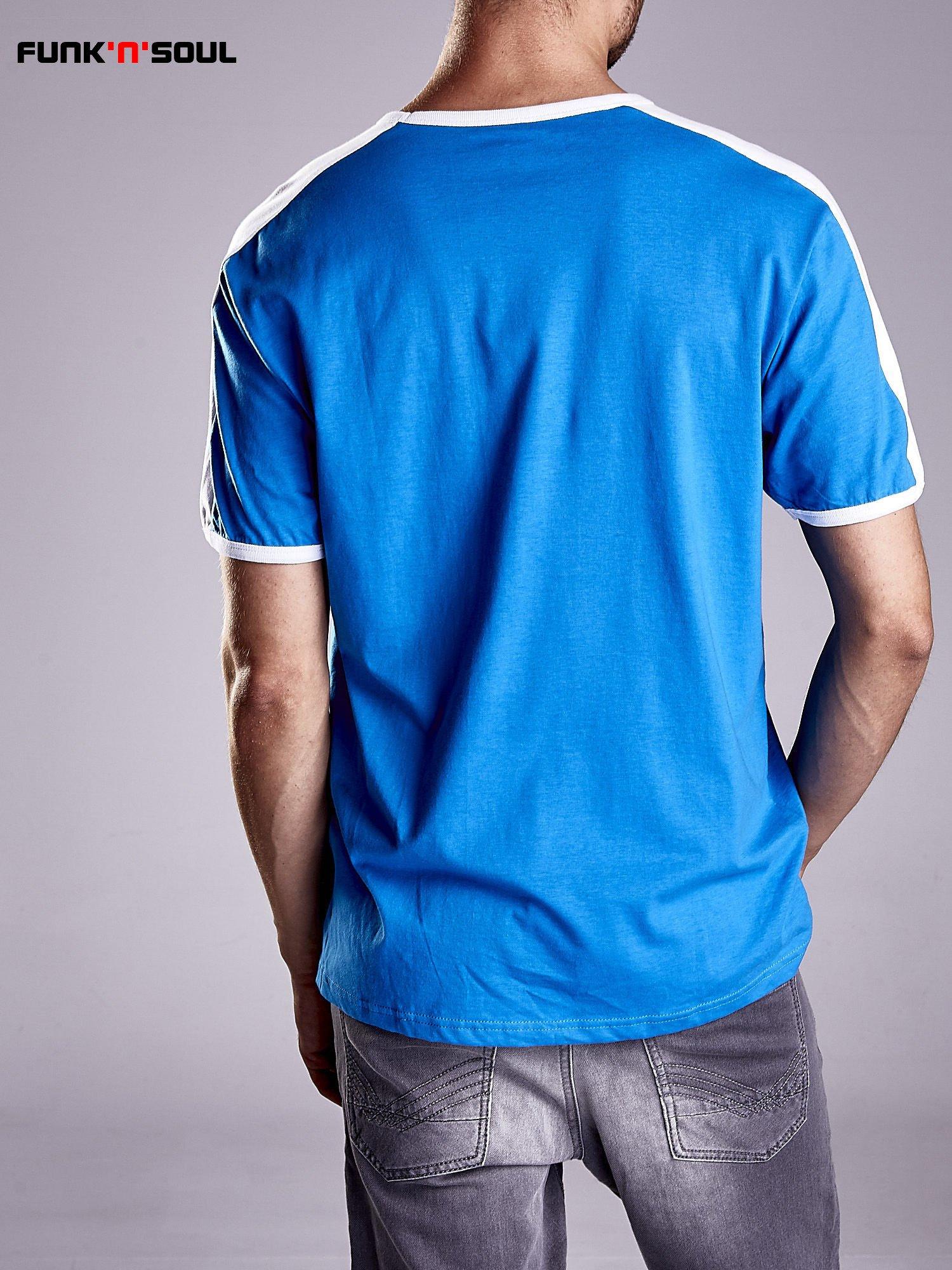 Niebieski t-shirt męski z napisem ITALIA Funk n Soul                                  zdj.                                  2