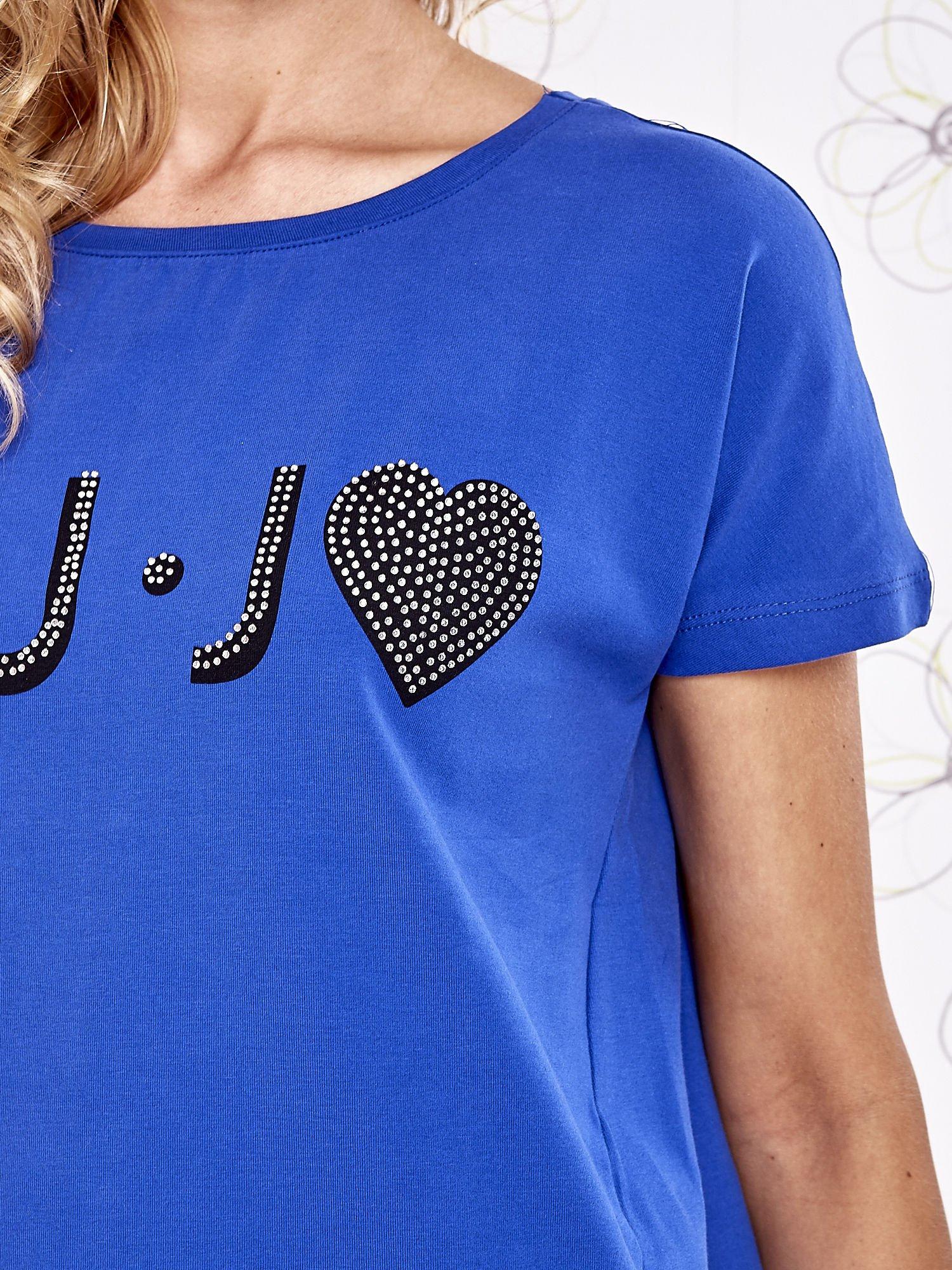Niebieski t-shirt z napisem LIU J❤                                  zdj.                                  6