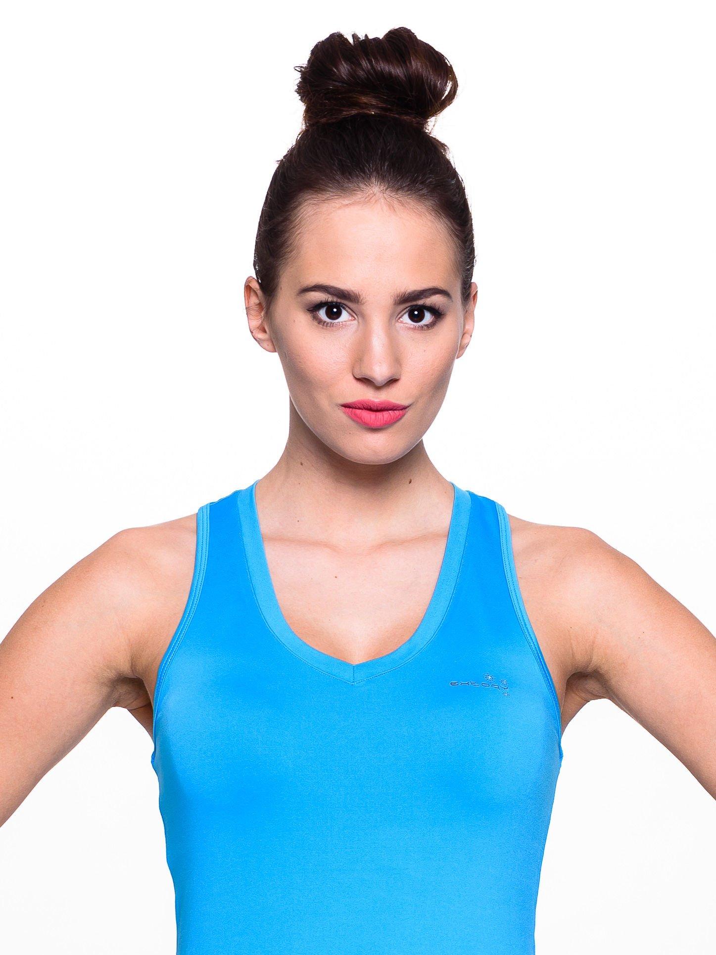 Niebieski top fitness z dekoltem V                                  zdj.                                  5