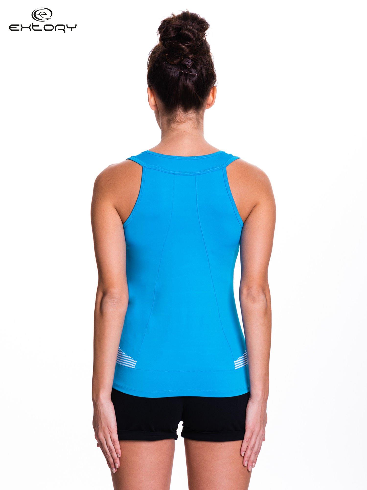 Niebieski top sportowy na fitness                                  zdj.                                  3