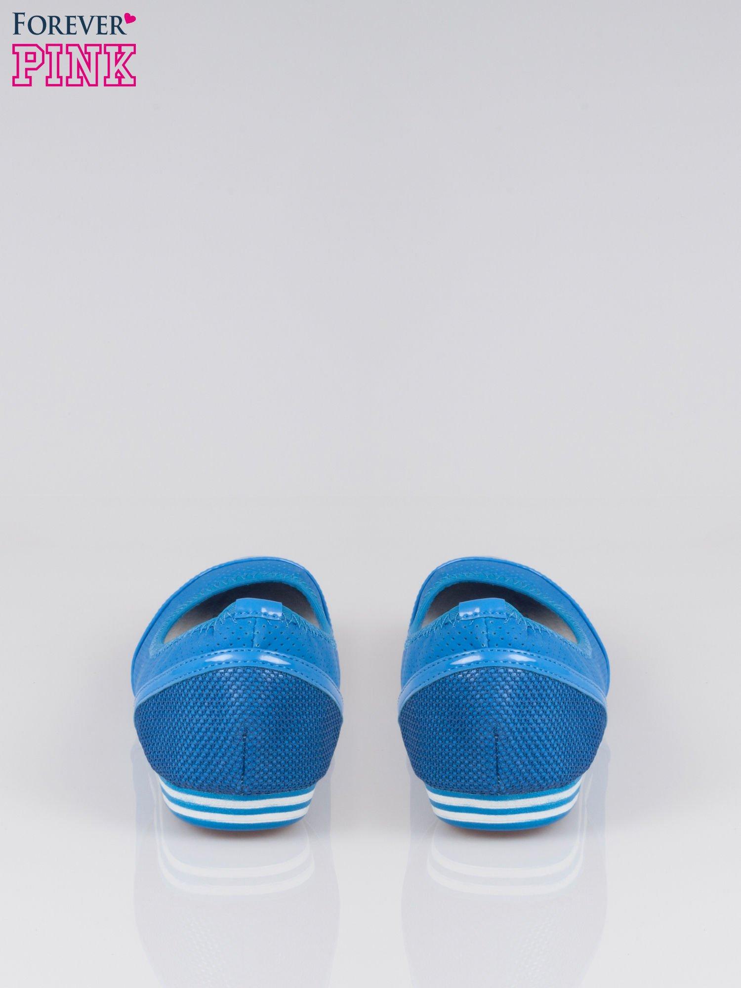 Niebieskie ażurowane baleriny  Blue Lagoon z lakierowanym czubkiem                                  zdj.                                  3