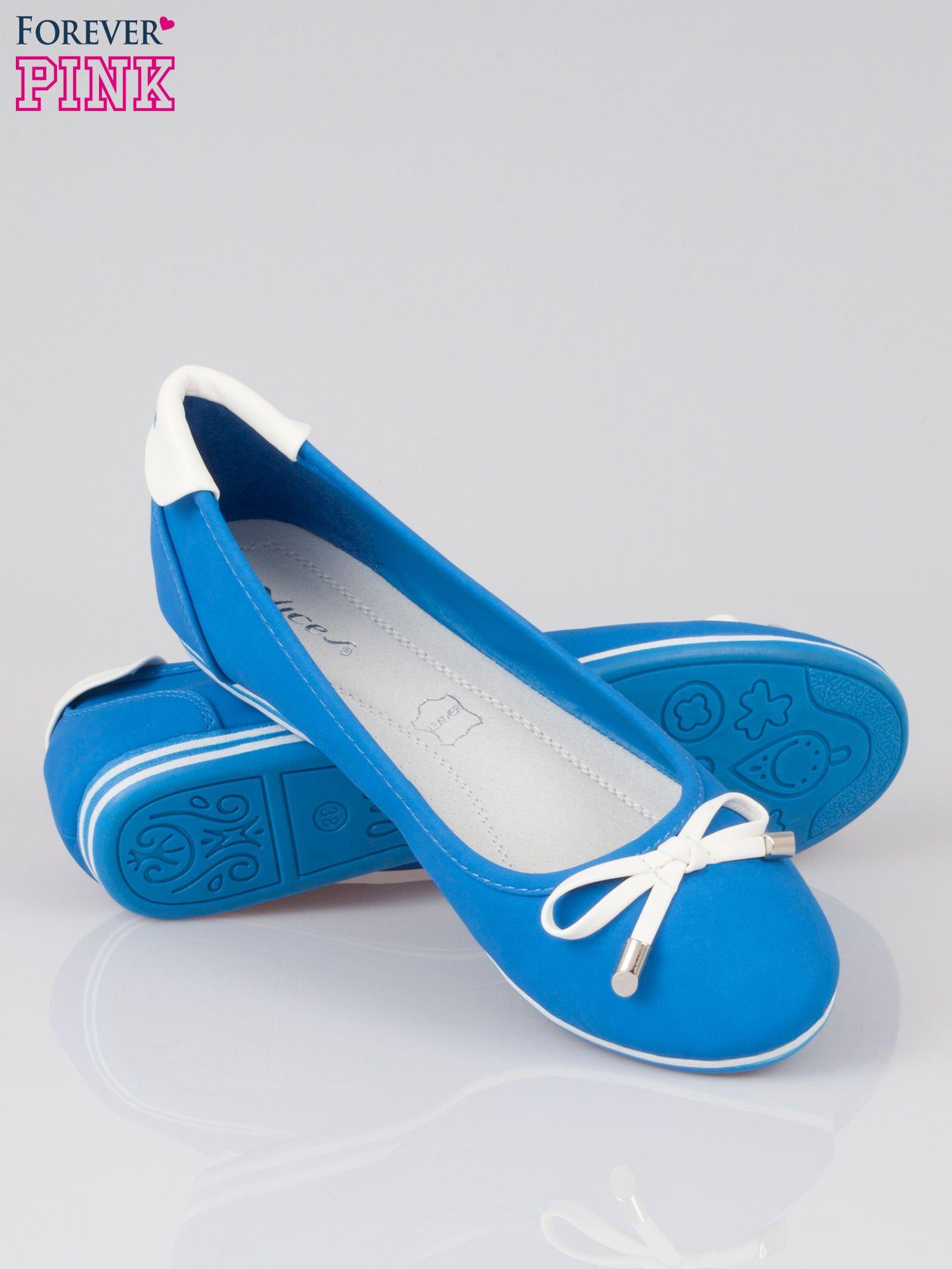 Niebieskie baleriny Blue Sky z białą kokardką                                  zdj.                                  4