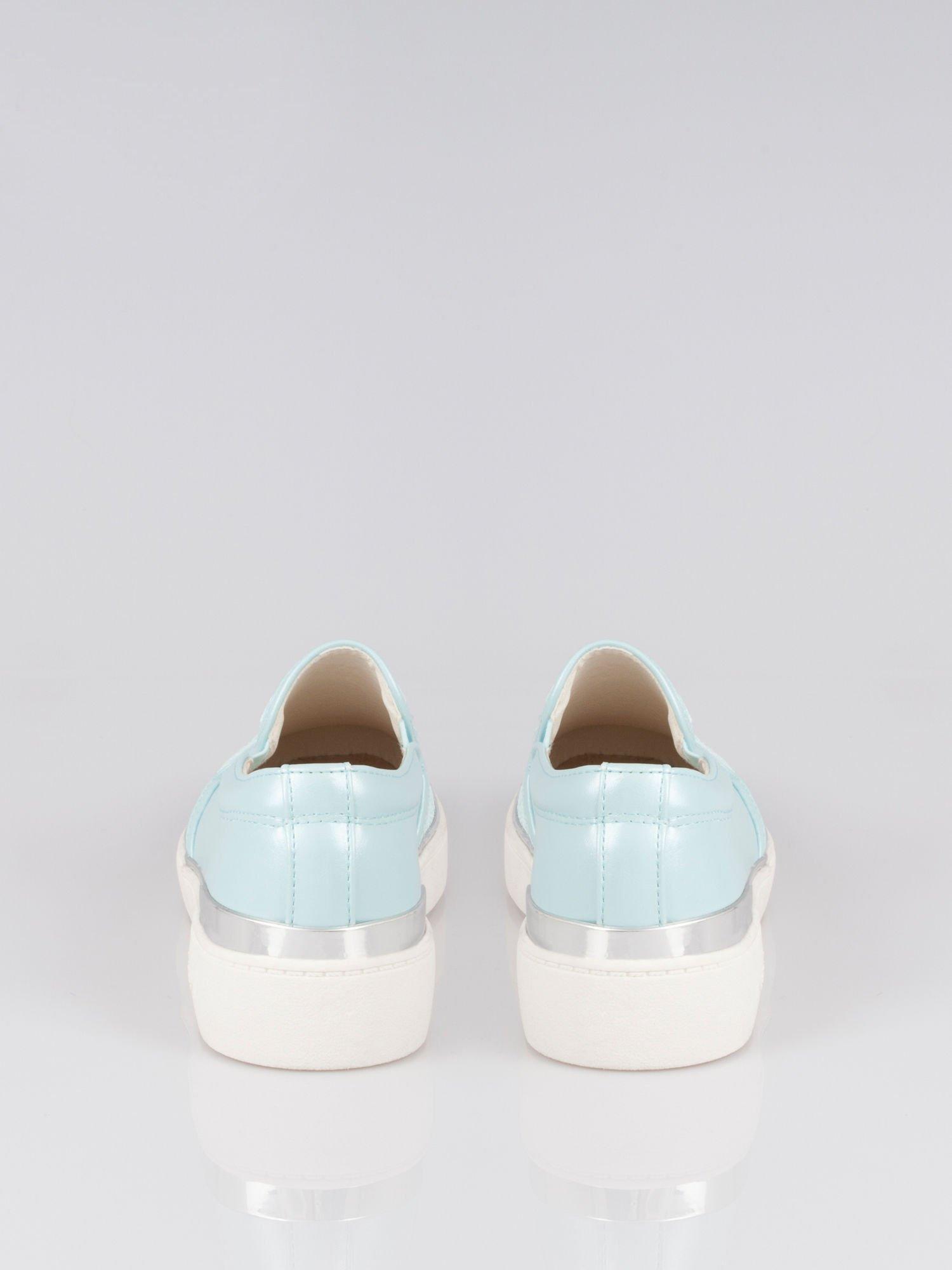 Niebieskie buty sliponki glitter                                  zdj.                                  2