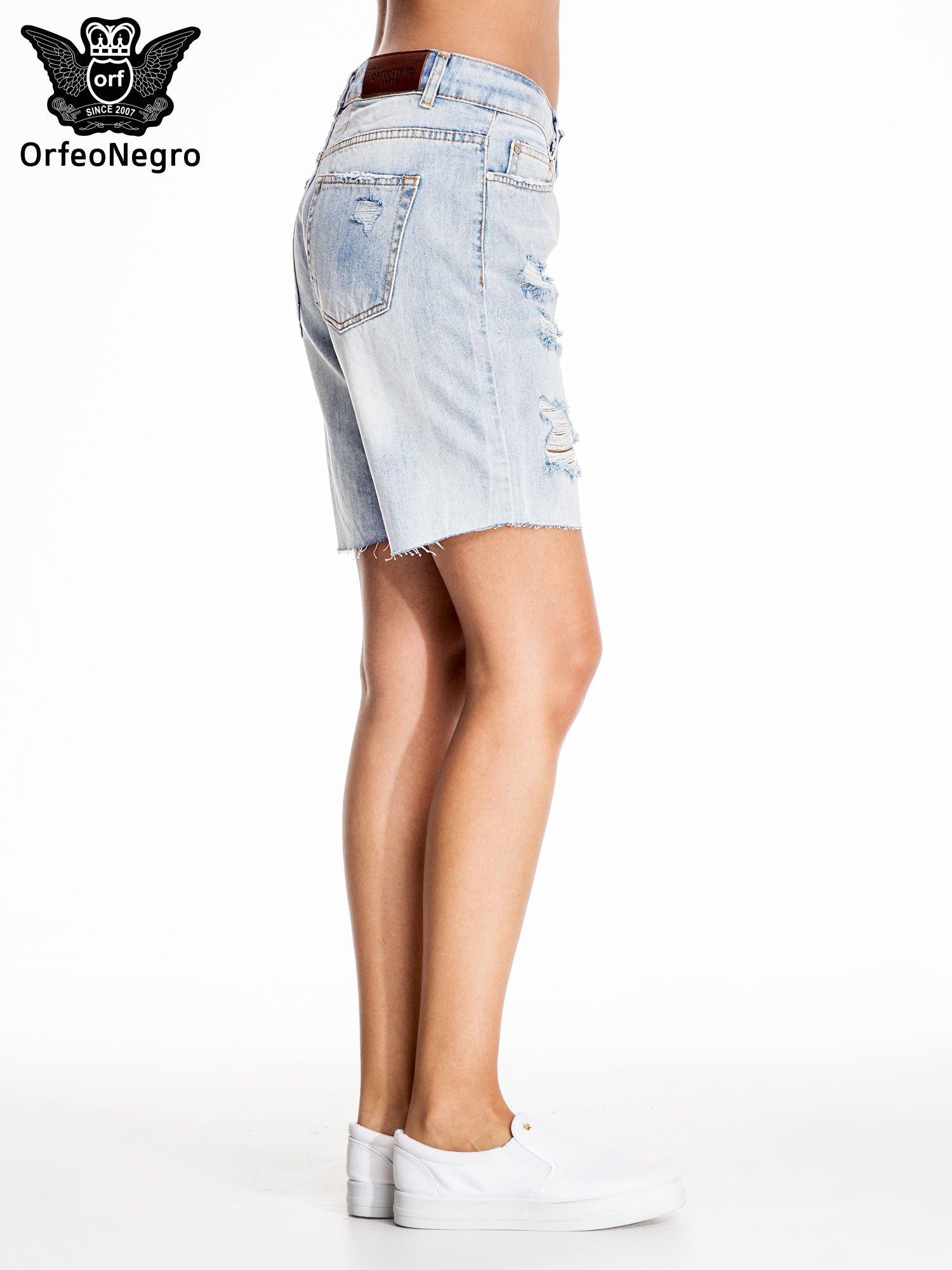 Niebieskie jeansowe szorty a'la bermudy                                  zdj.                                  5