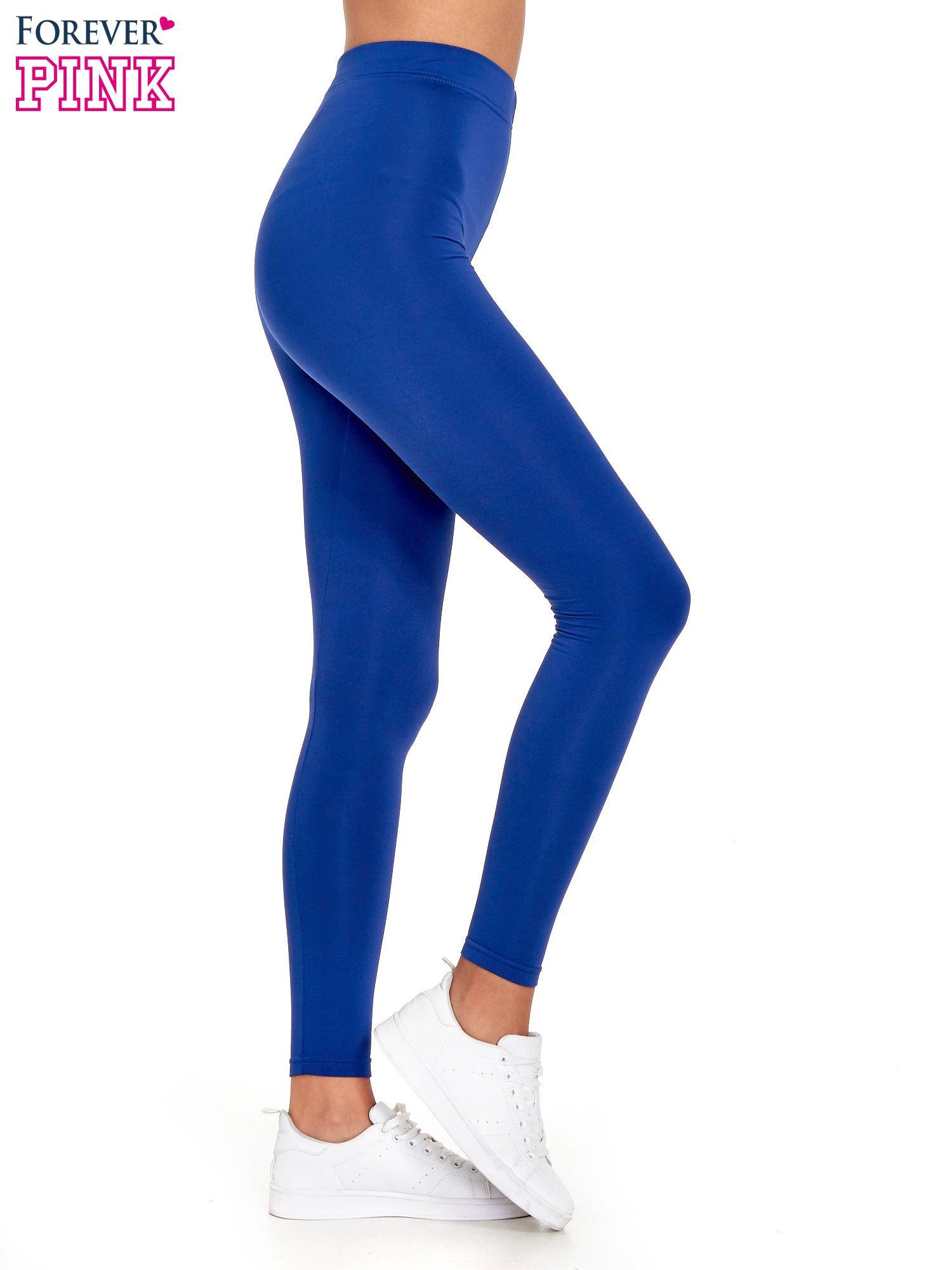 Niebieskie legginsy basic z lekkim ociepleniem                                  zdj.                                  3