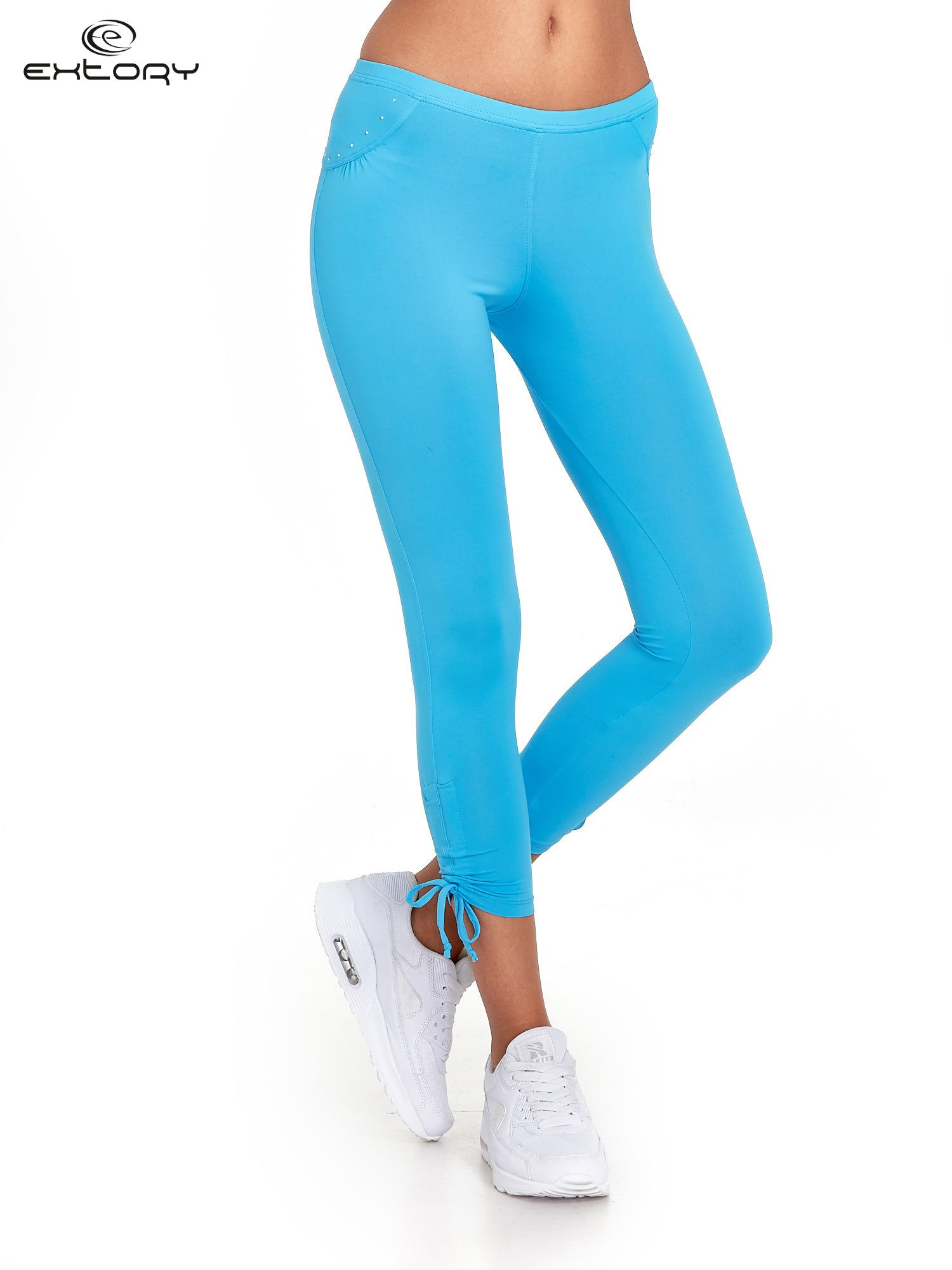 Niebieskie legginsy sportowe termalne z dżetami i ściągaczem                                  zdj.                                  1