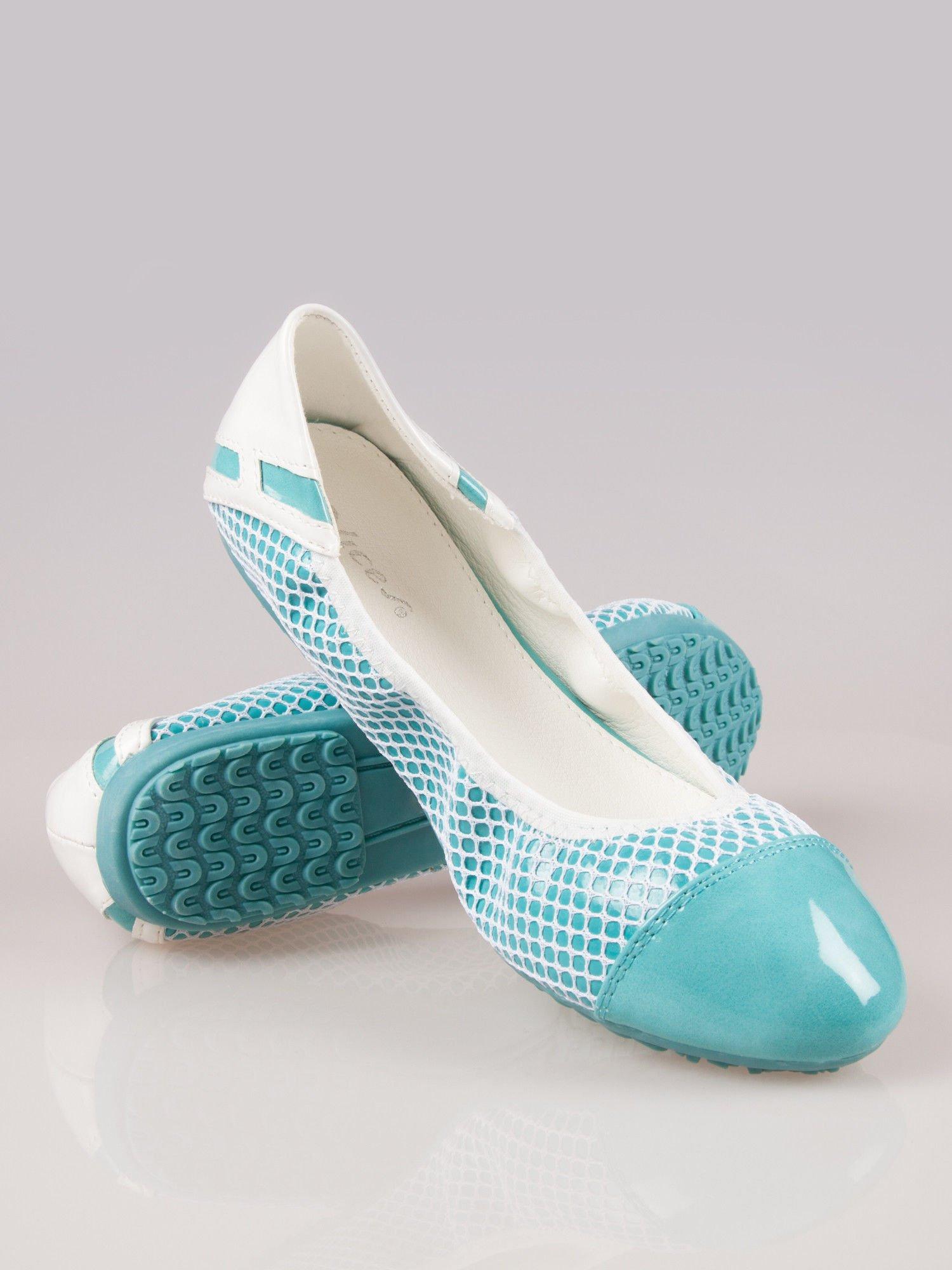 Niebieskie siateczkowe baleriny Whippie na gumkę                                  zdj.                                  2