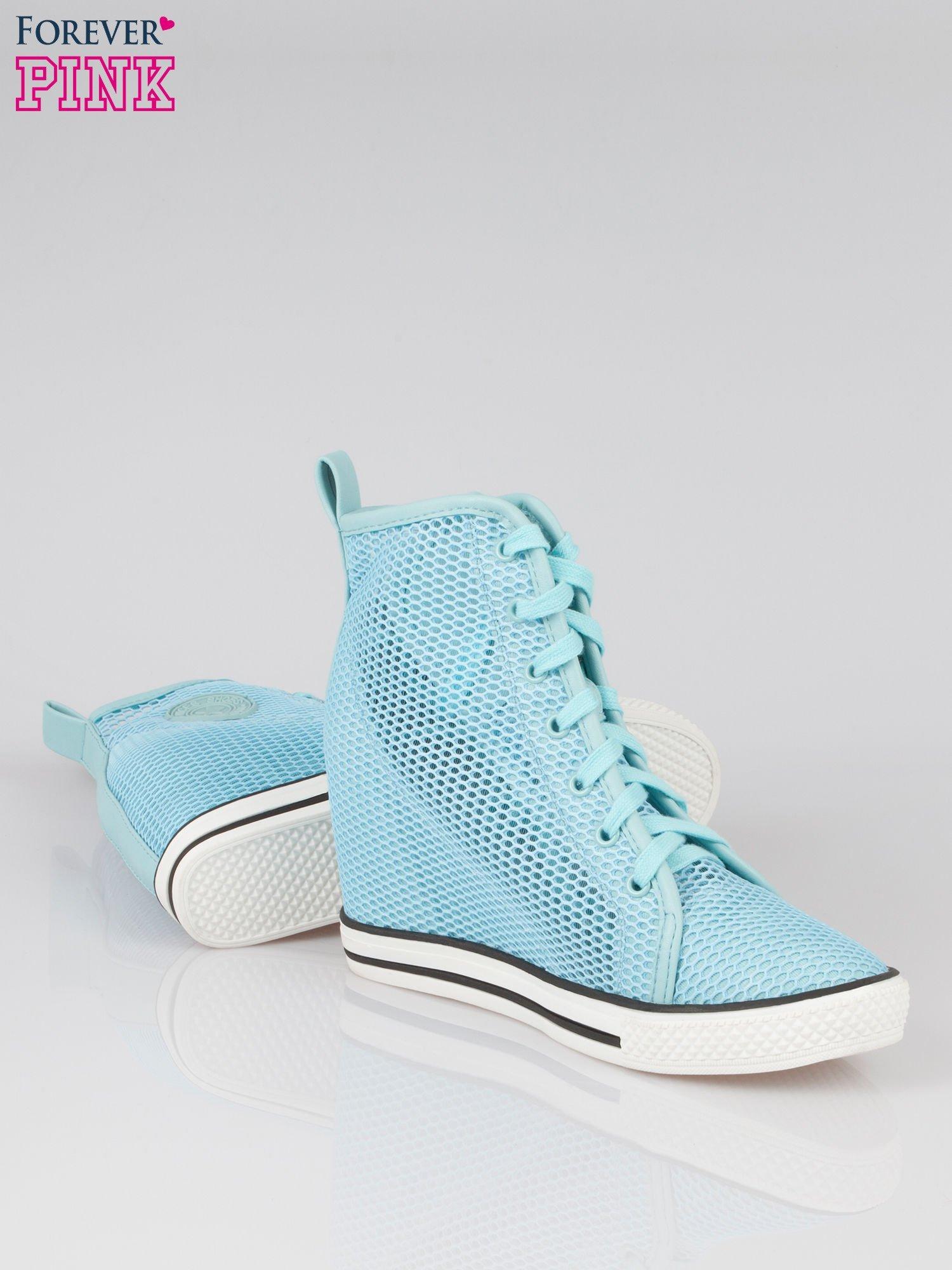 Niebieskie siateczkowe sneakersy damskie                                  zdj.                                  4