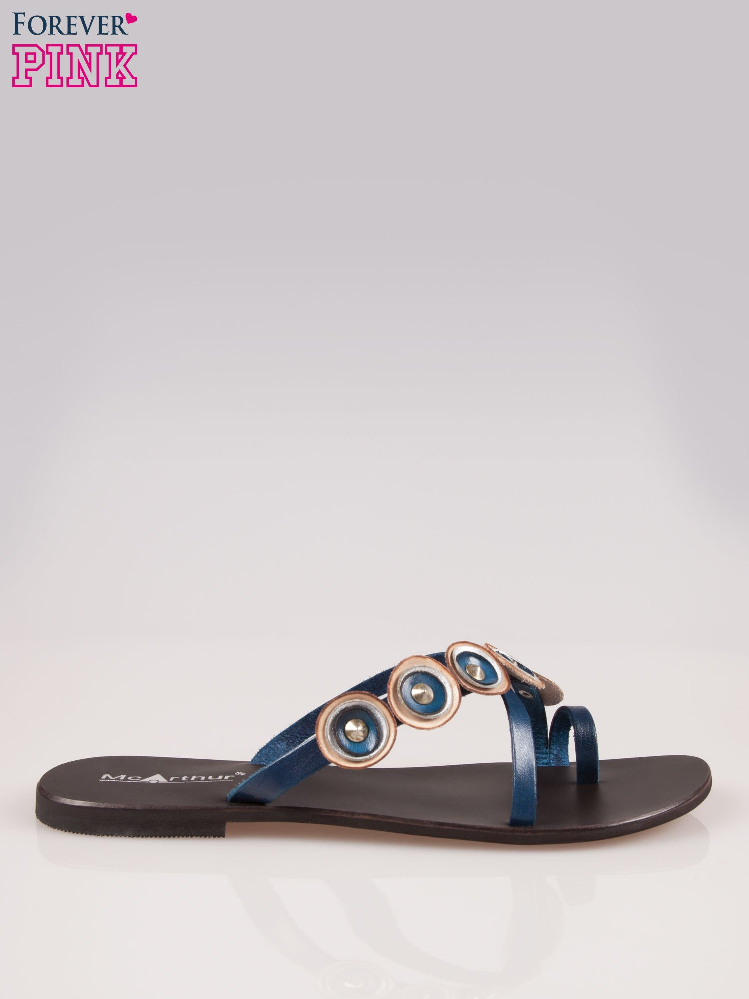 Niebieskie skórzane klapki japonki w stylu etno                                  zdj.                                  1