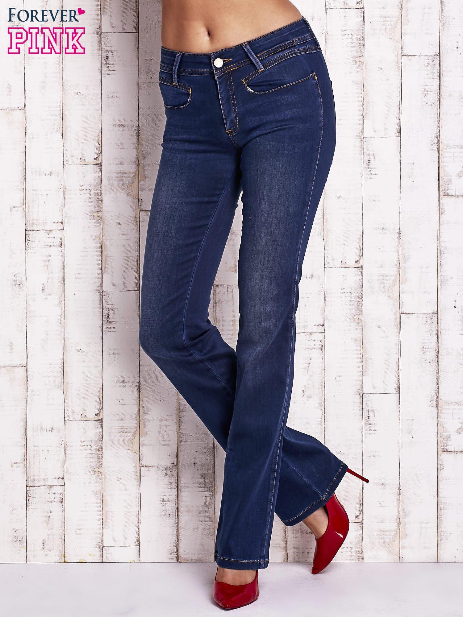 Niebieskie spodnie jeansowe boot cut                                  zdj.                                  1
