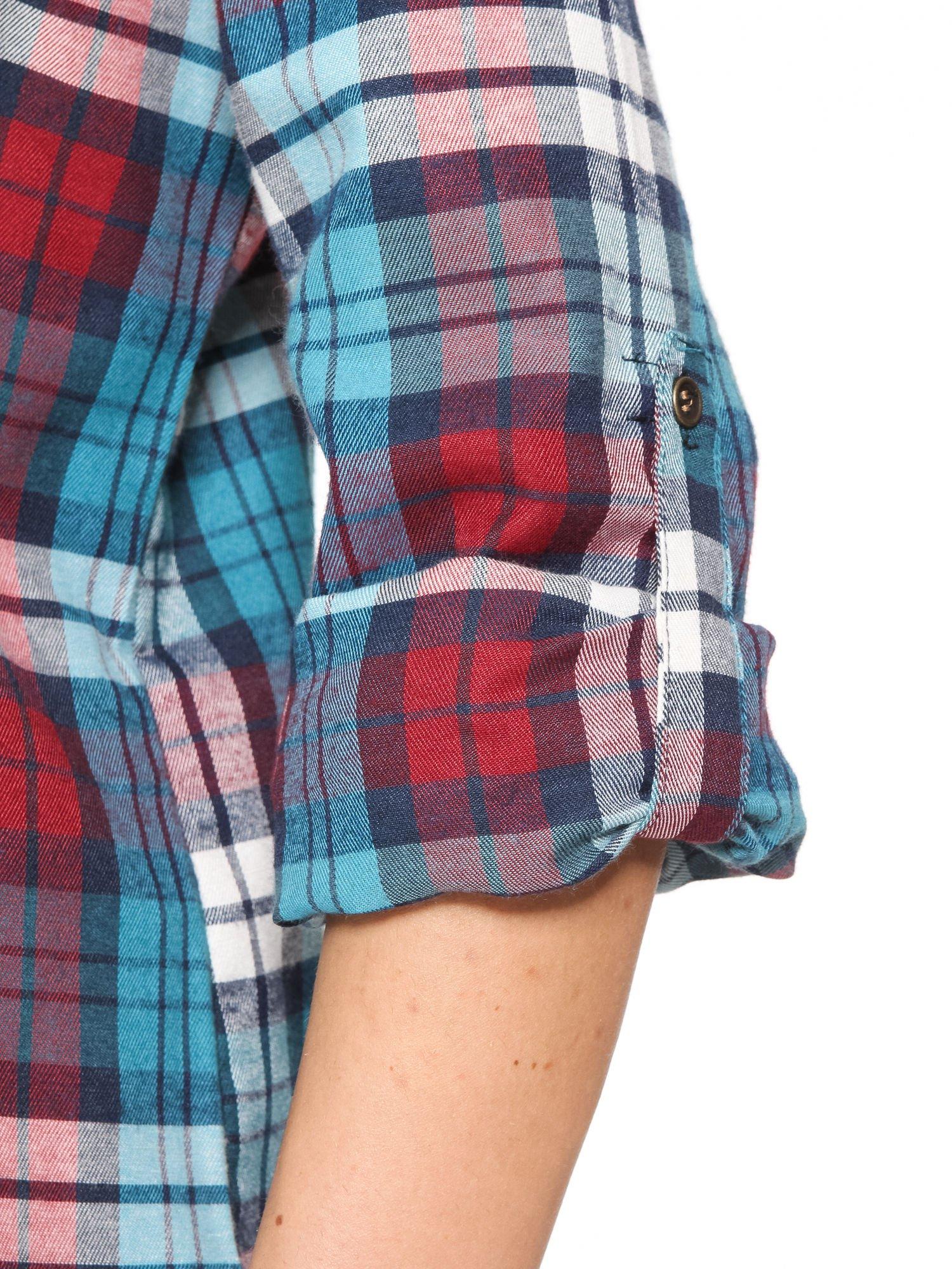 Niebiesko-czerwona bawełniana dłuższa koszula w kratę                                  zdj.                                  6