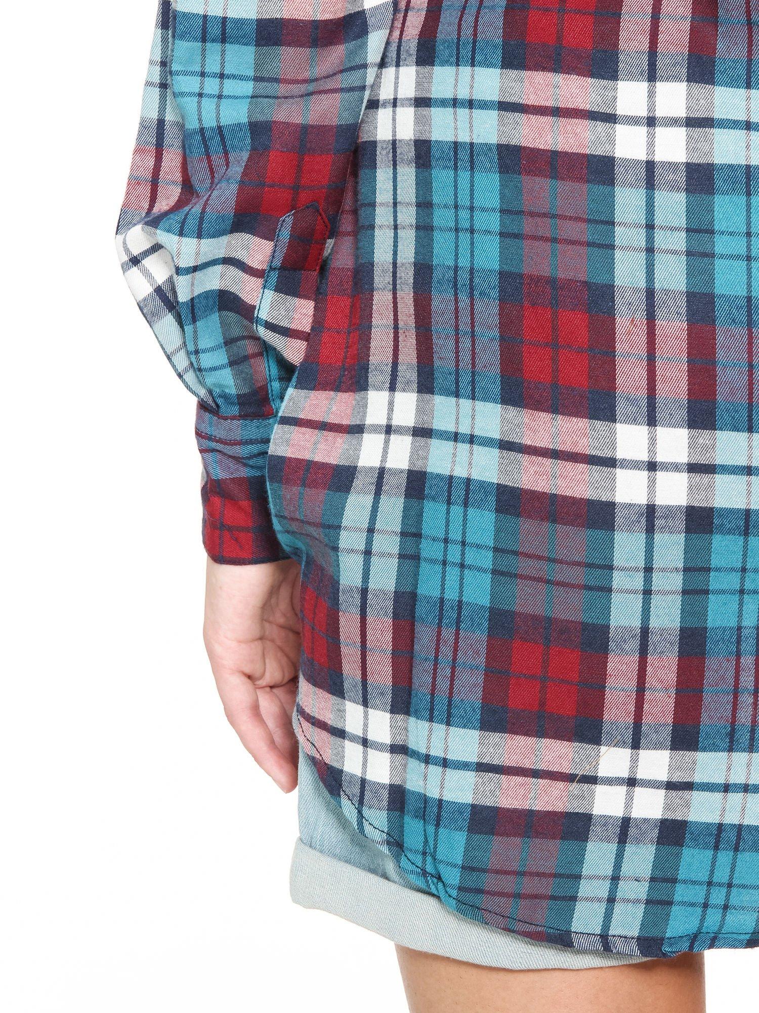 Niebiesko-czerwona bawełniana dłuższa koszula w kratę                                  zdj.                                  8