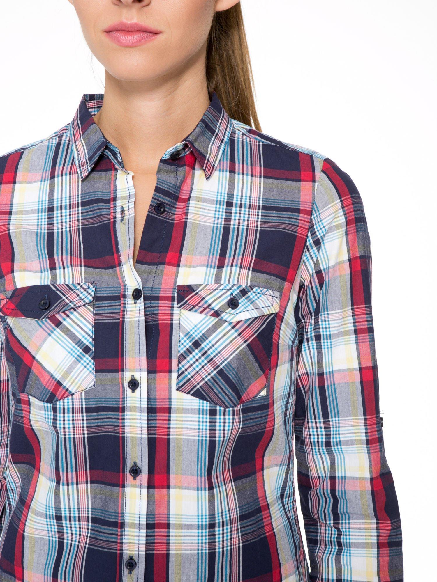 Niebiesko-czerwona koszula w kratę z kieszeniami                                  zdj.                                  5