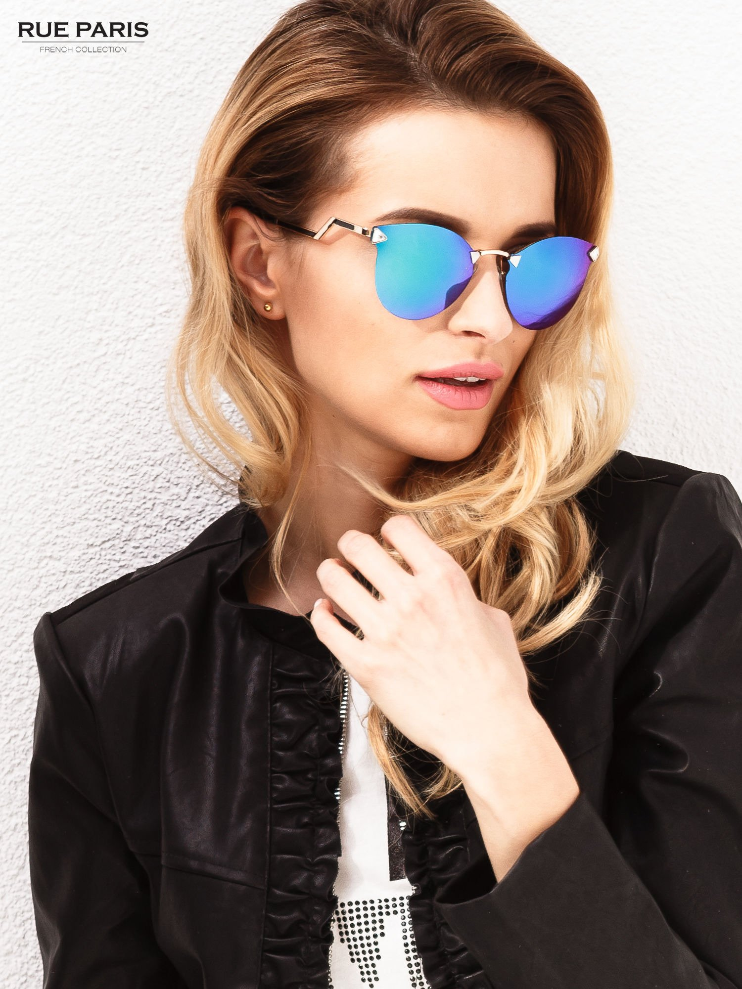 Niebiesko-zielone okulary przeciwsłoneczne stylizowane na FENDI                                  zdj.                                  1