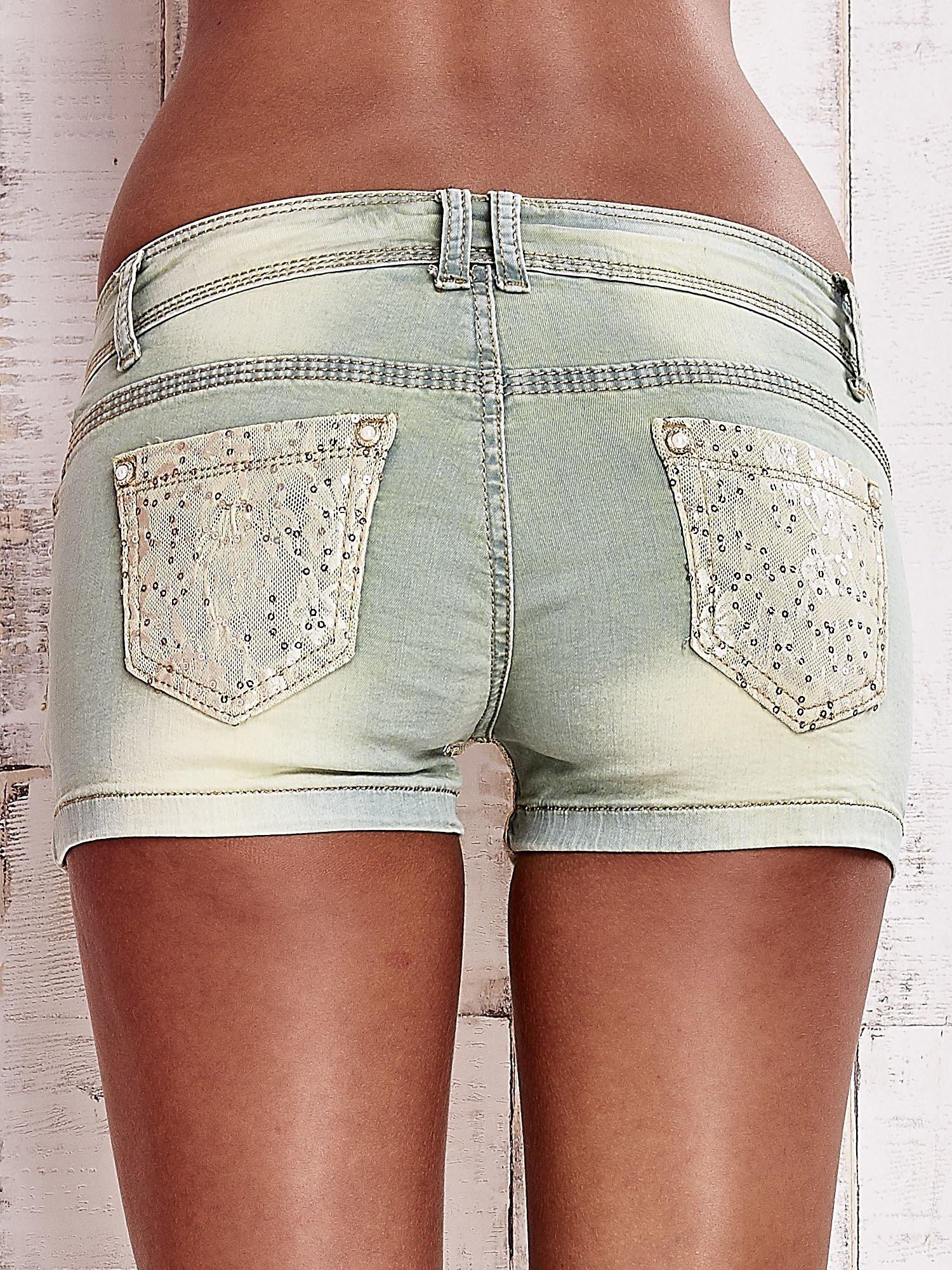 Niebieskozielone szorty jeansowe z koronką                                  zdj.                                  2